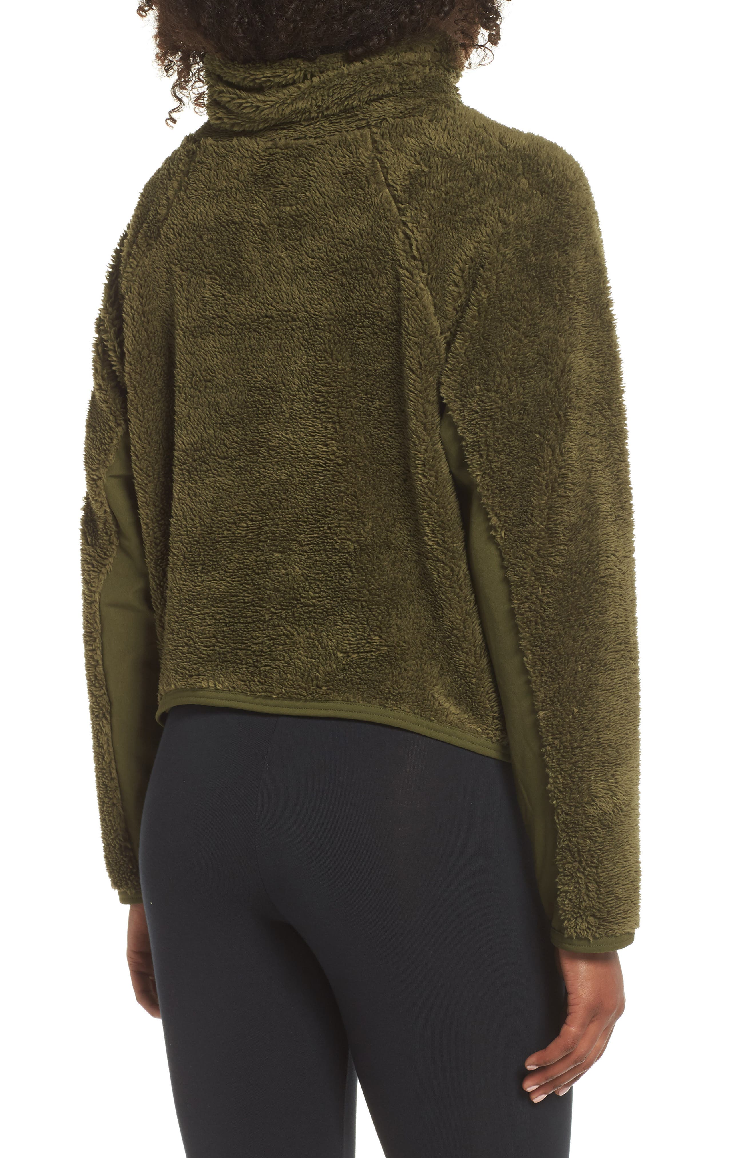 Fleece Mock Neck Top,                             Alternate thumbnail 2, color,                             OLIVE CANVAS/ BLACK