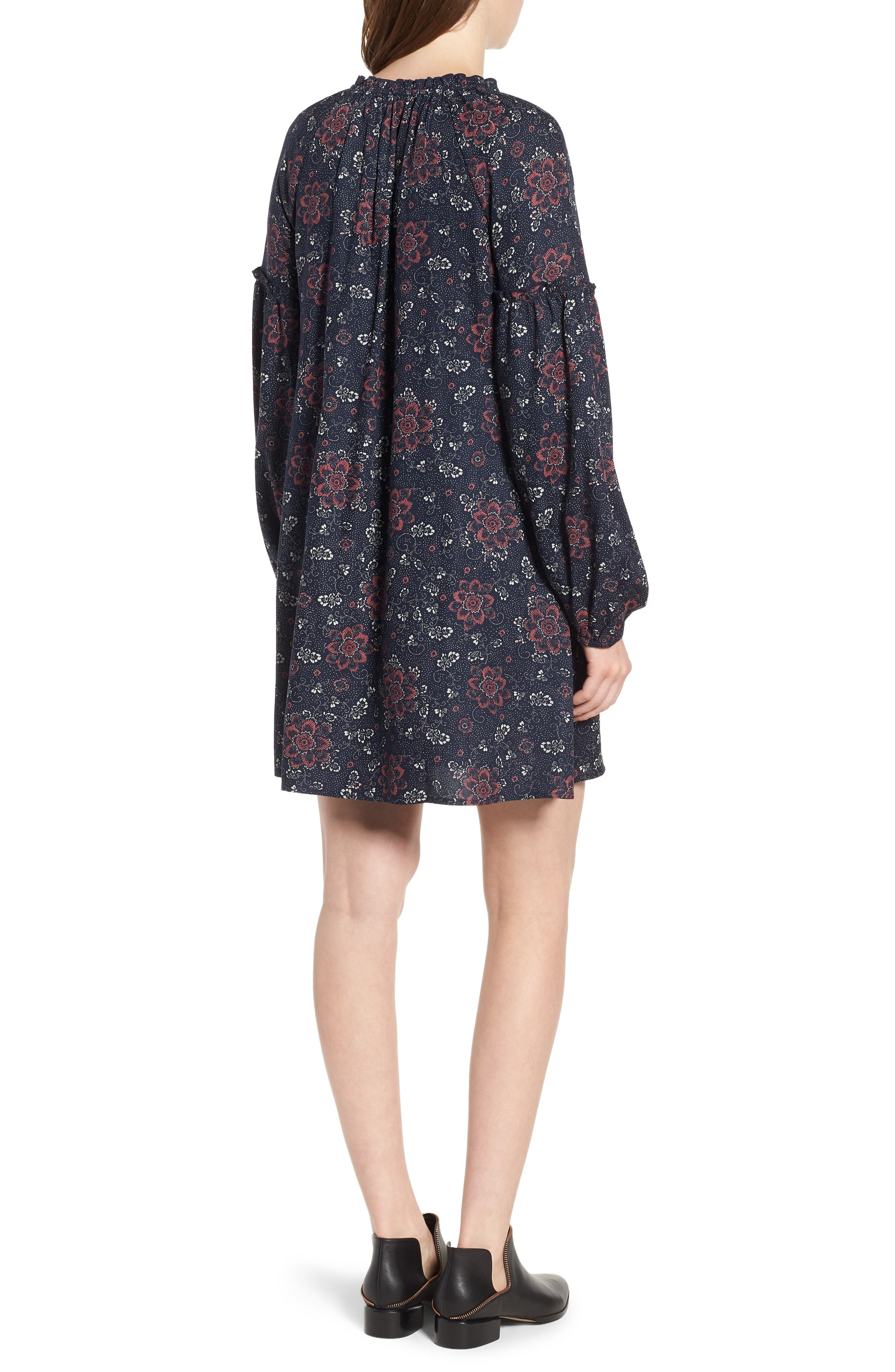 Mix Print Peasant Dress,                             Alternate thumbnail 2, color,                             NAVY NIGHT WOVEN FLORAL MIX