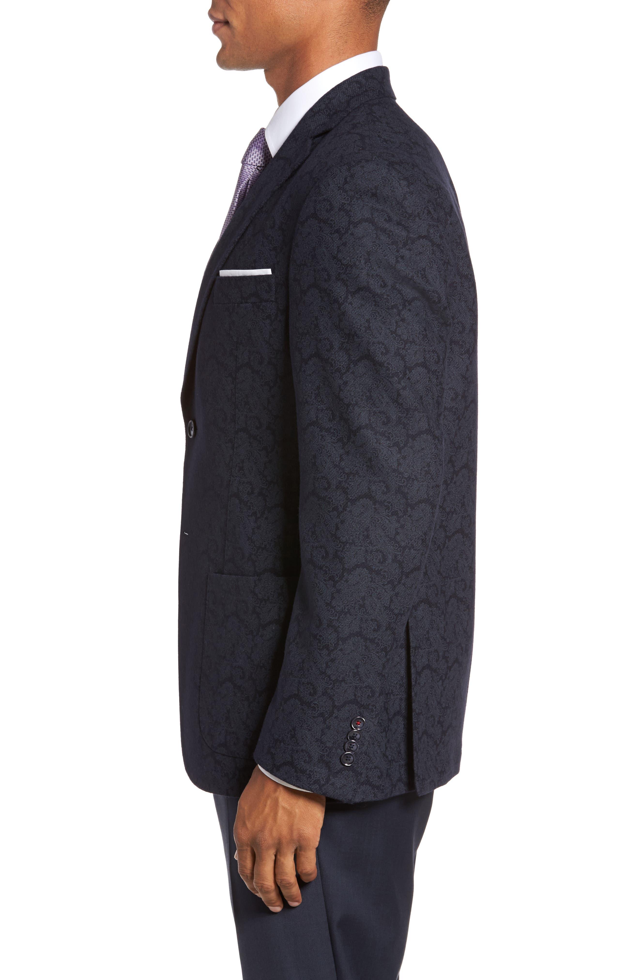 Trim Fit Paisley Wool Blend Sport Coat,                             Alternate thumbnail 3, color,                             403