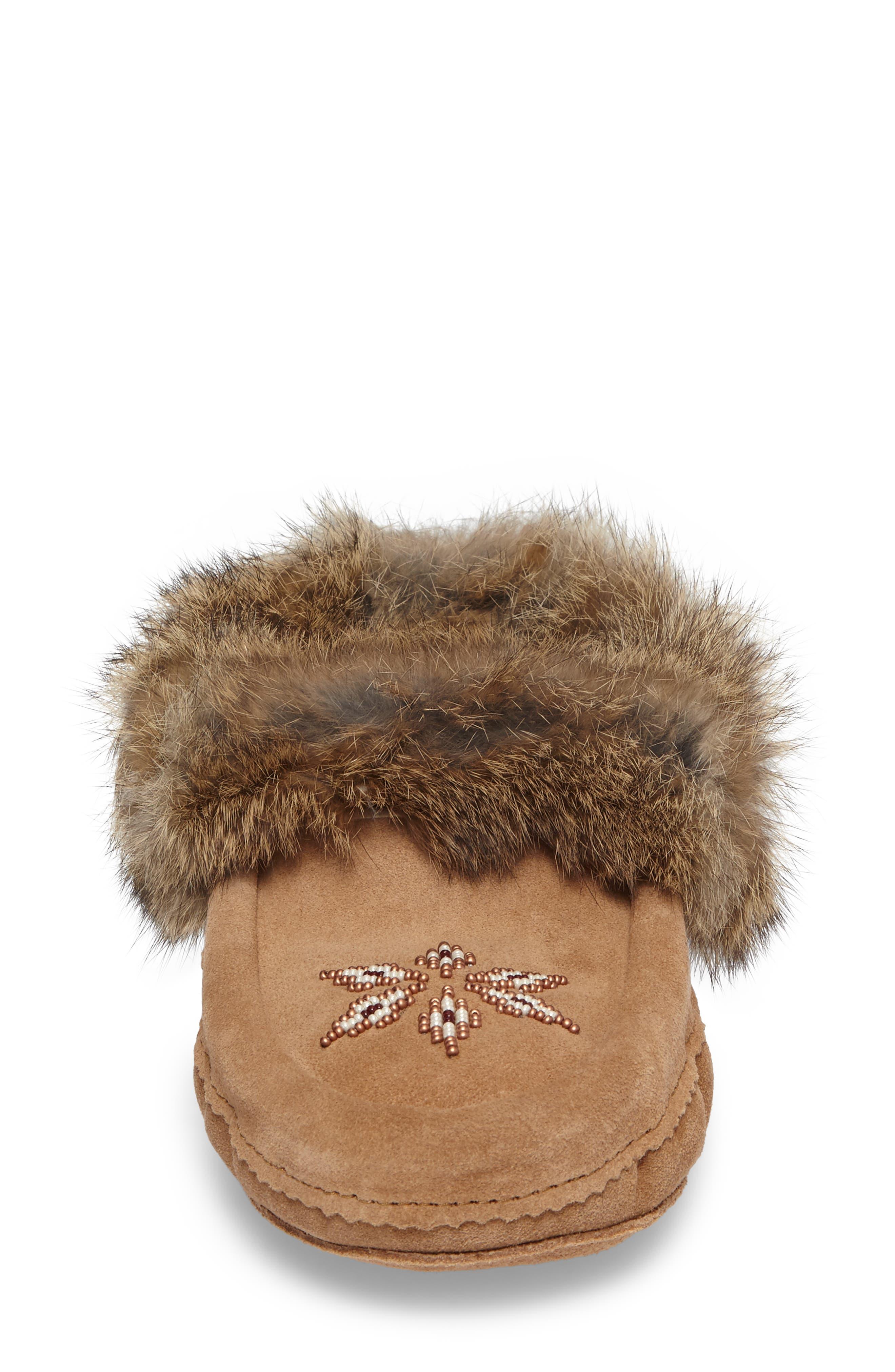 'Kanada' Genuine Rabbit Fur & Suede Moccasin Slipper,                             Alternate thumbnail 4, color,                             OAK FUR