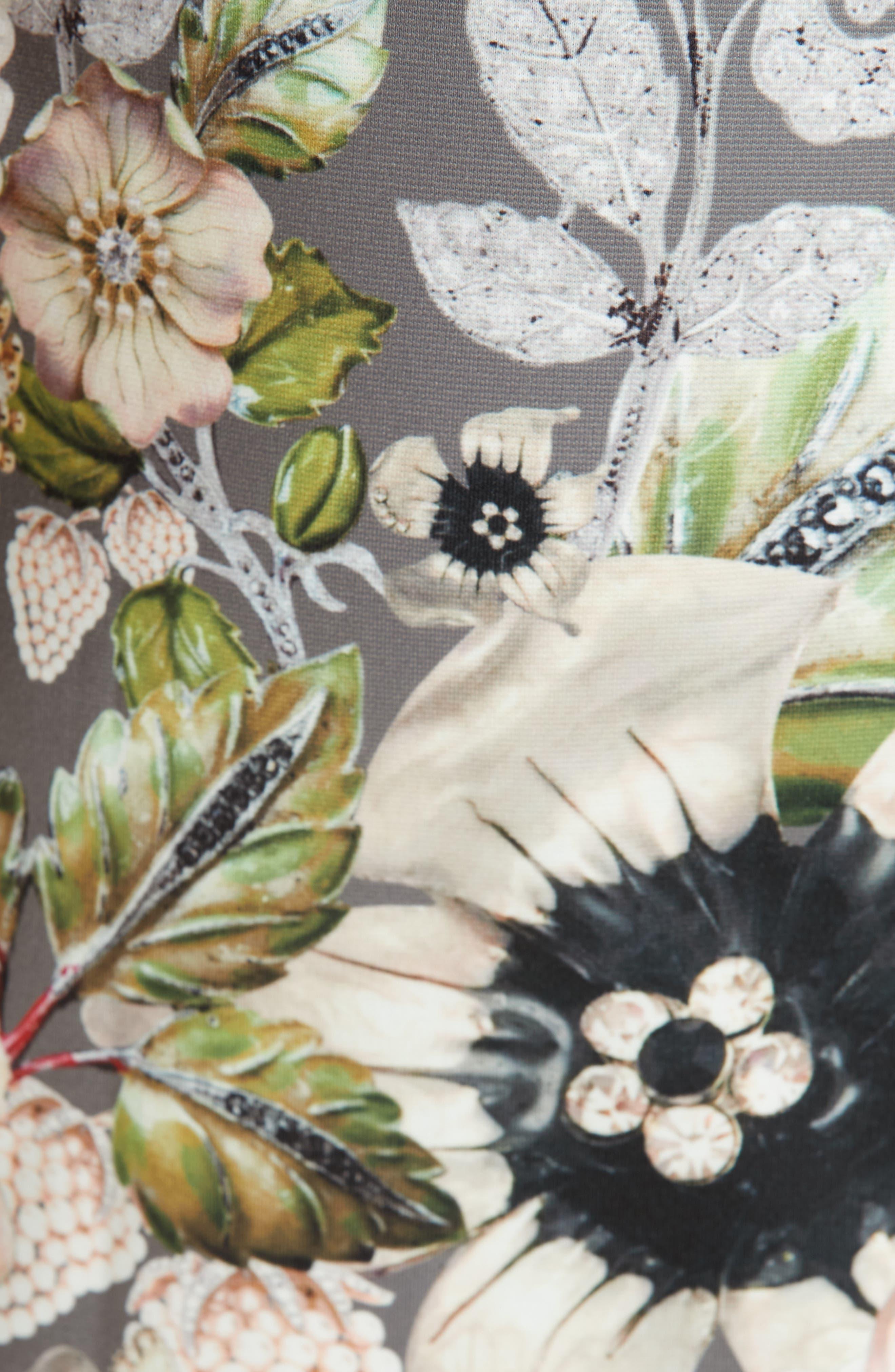 Wendala Gem Gardens Body-Con Dress,                             Alternate thumbnail 6, color,                             CHARCOAL