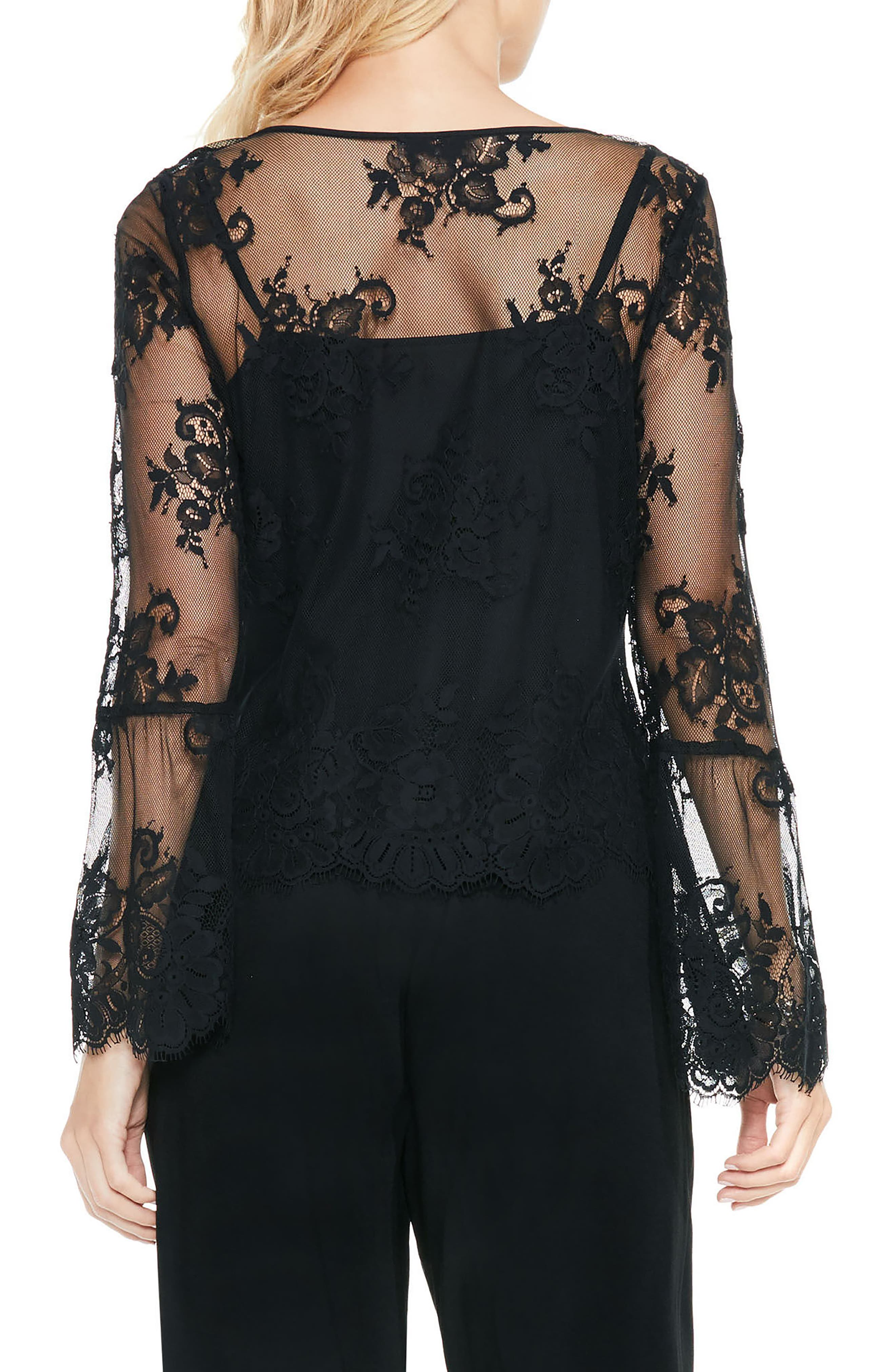 Bell Sleeve Mesh Lace Blouse,                             Alternate thumbnail 2, color,                             006