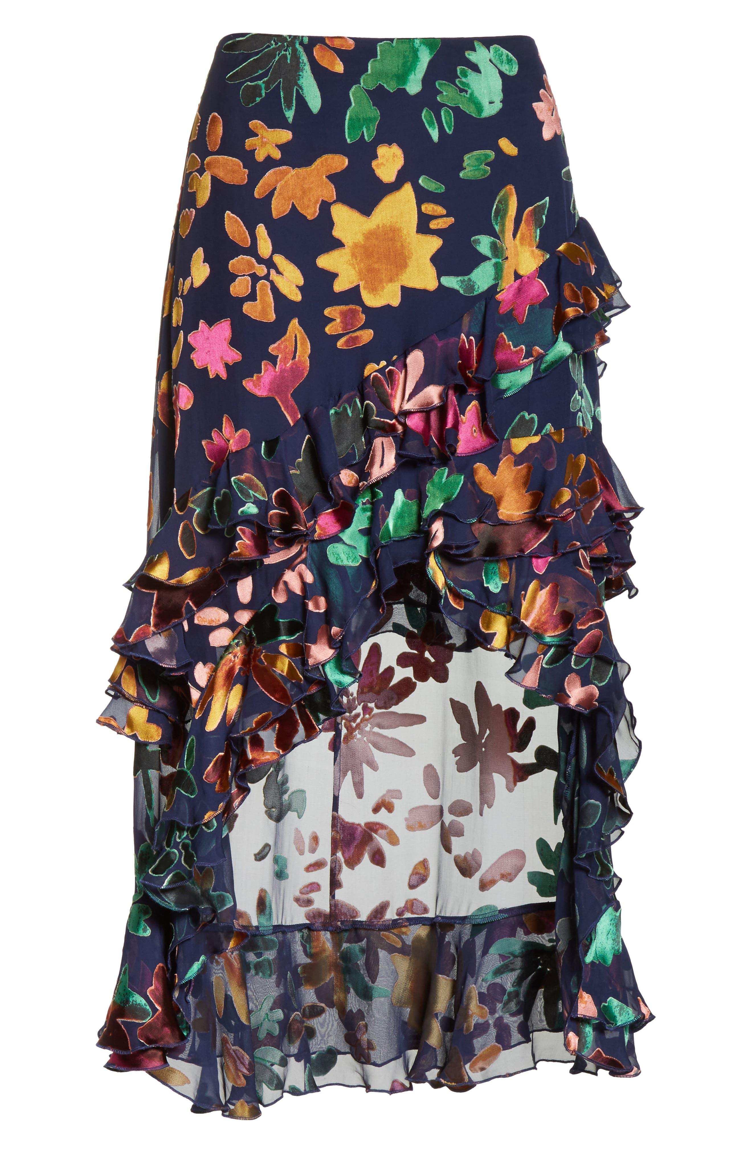 Sasha Asymmetrical Tiered Ruffle Skirt,                             Alternate thumbnail 6, color,                             471