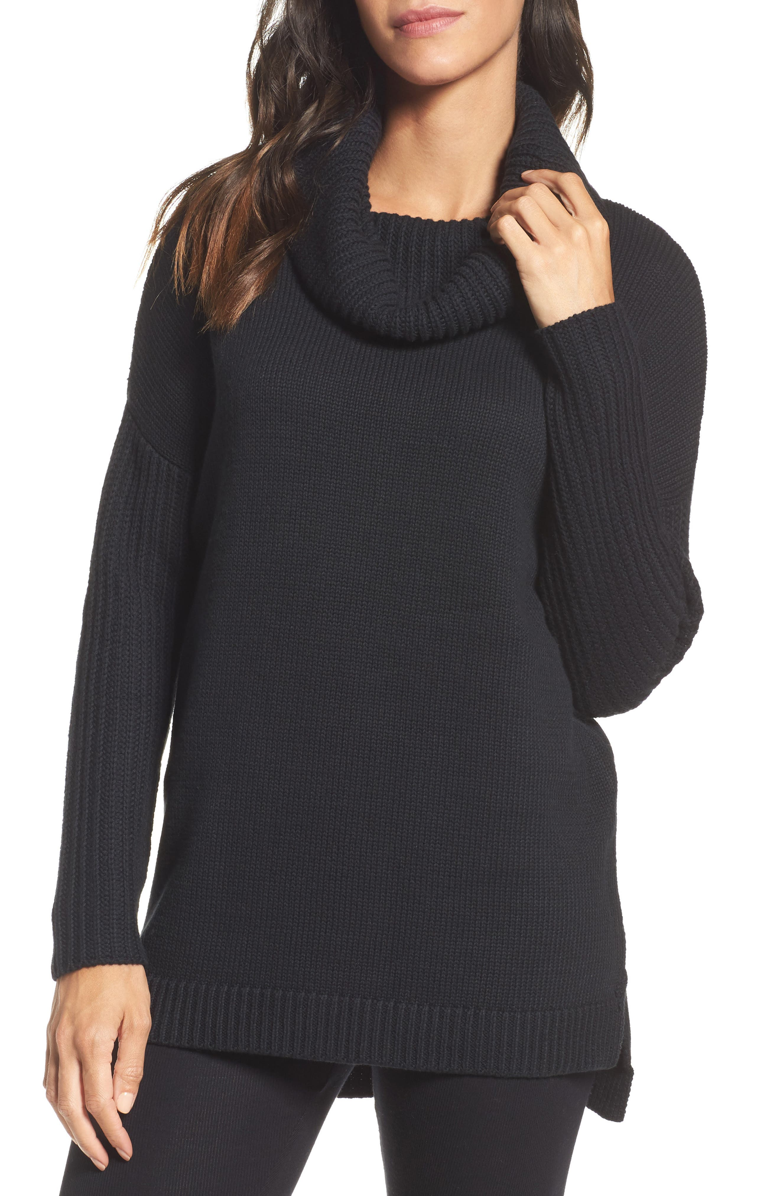 Cowl Neck Tunic Sweater,                             Main thumbnail 1, color,                             001