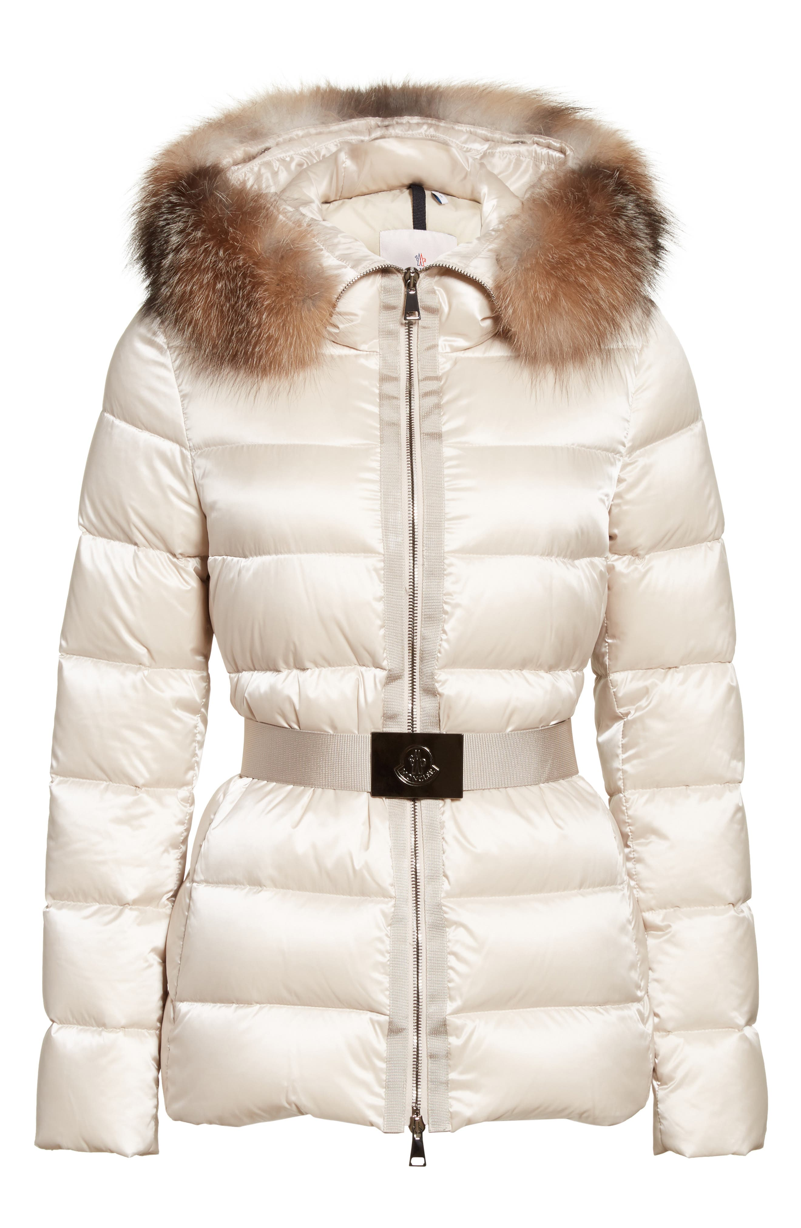 Tatie Belted Down Puffer Coat with Removable Genuine Fox Fur Trim,                             Alternate thumbnail 5, color,                             CHAMPAGNE