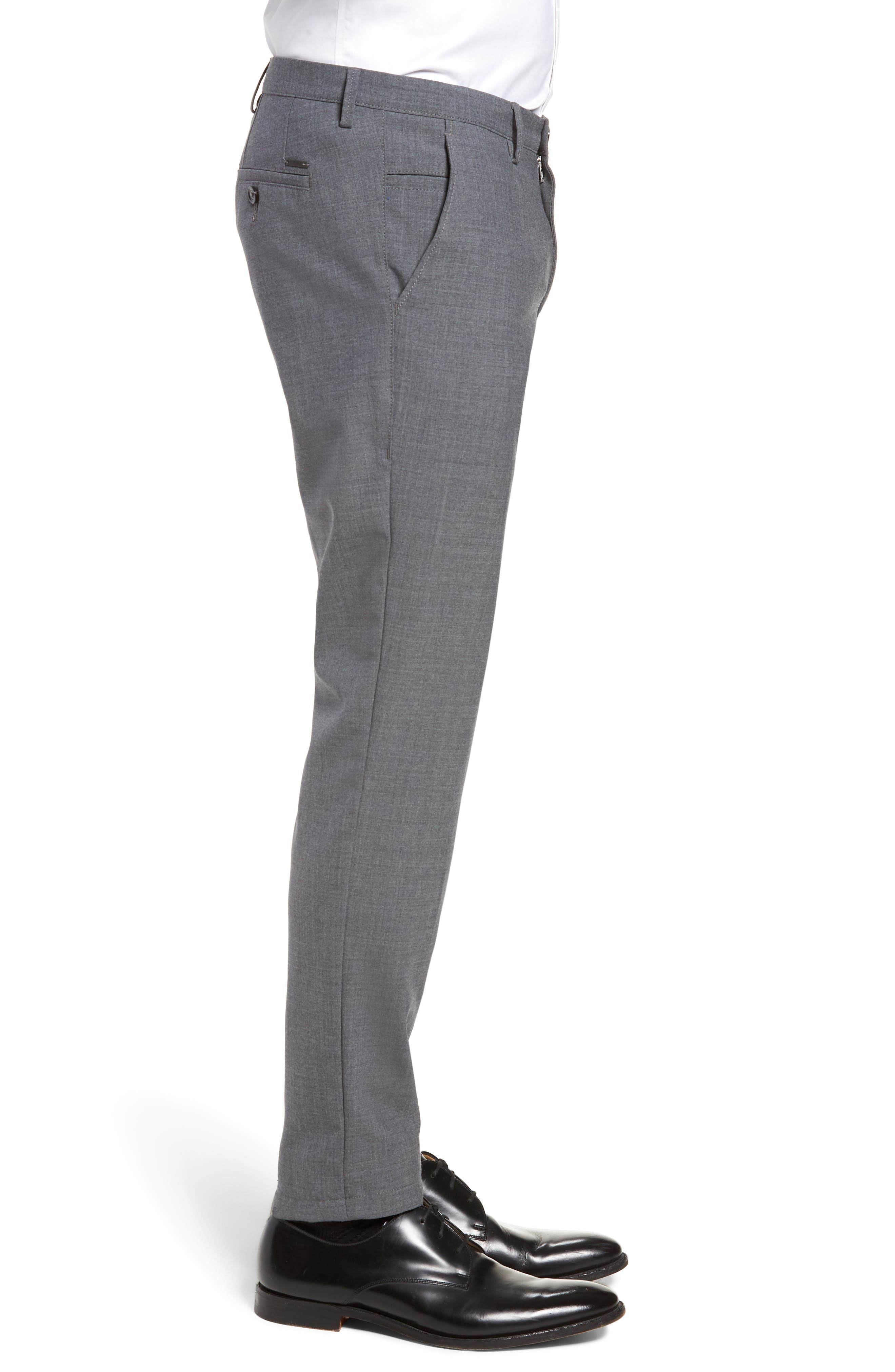 Kaito Slim Fit Wool Trousers,                             Alternate thumbnail 3, color,                             GREY