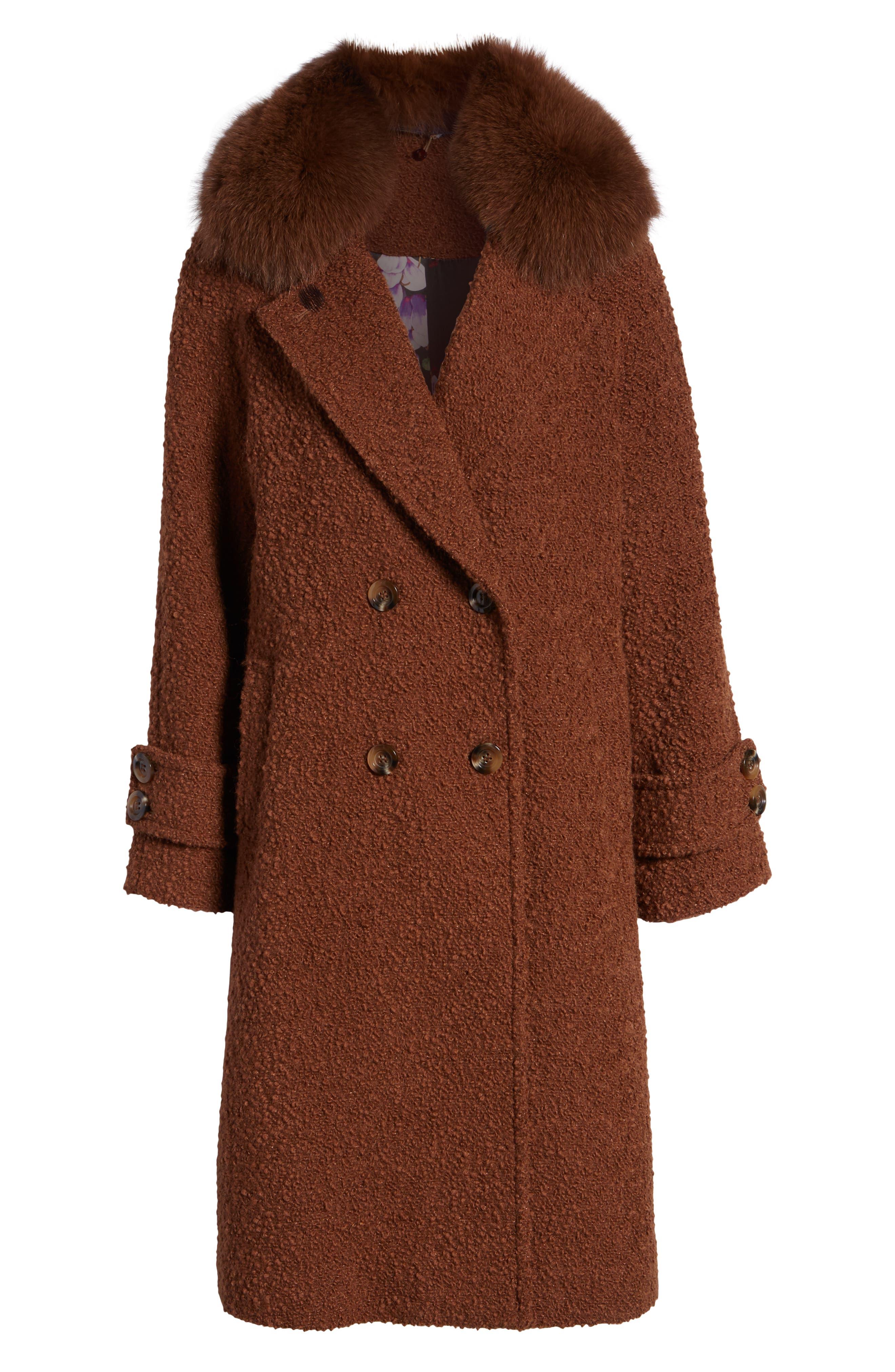 London Genuine Fox Fur Trim Long Coat,                             Alternate thumbnail 6, color,                             MOCHA