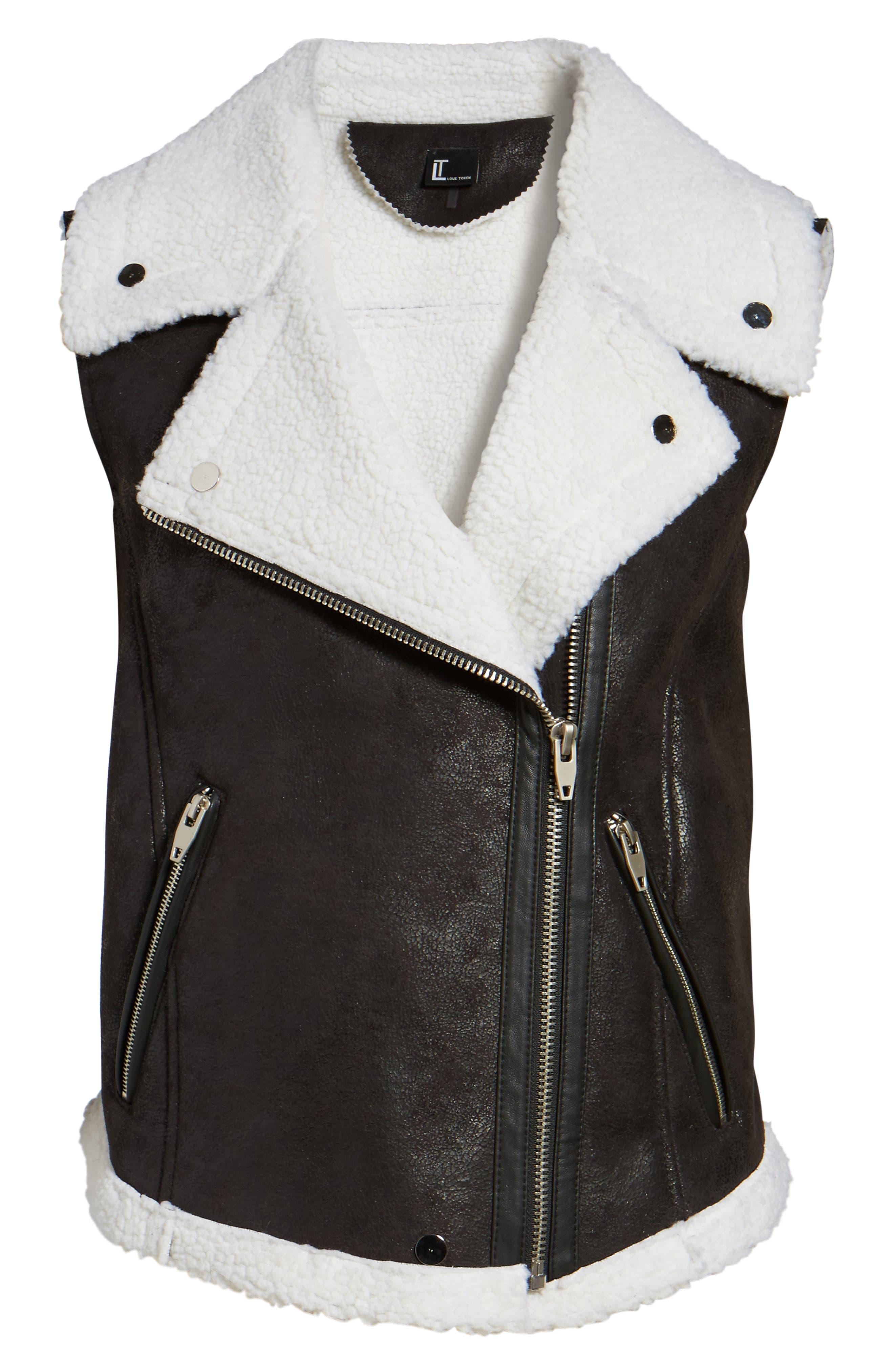 Faux Shearling Moto Vest,                             Alternate thumbnail 5, color,                             001