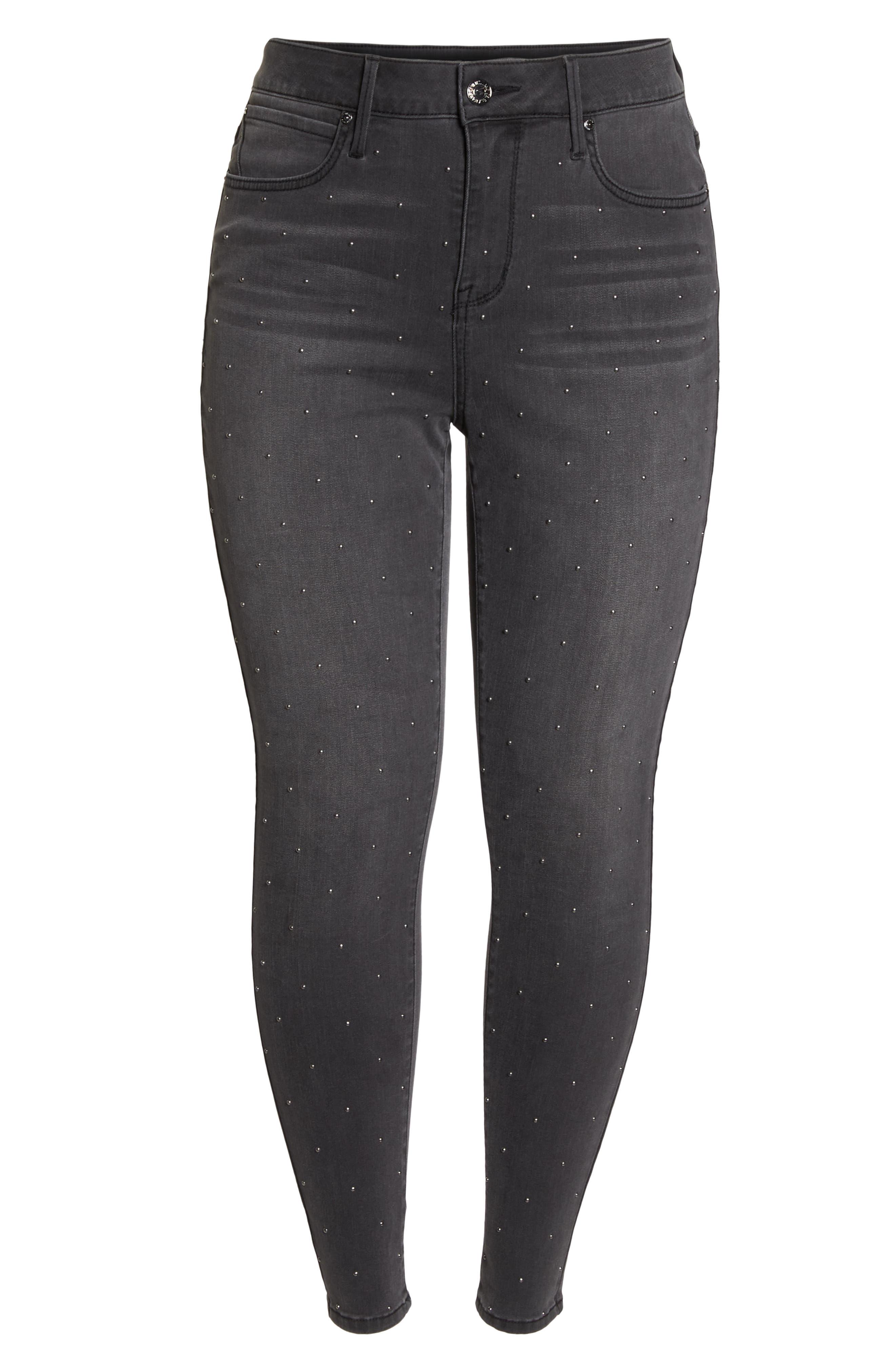 High Rise Lace Hem Skinny Jeans,                             Alternate thumbnail 7, color,                             REVOLUTION