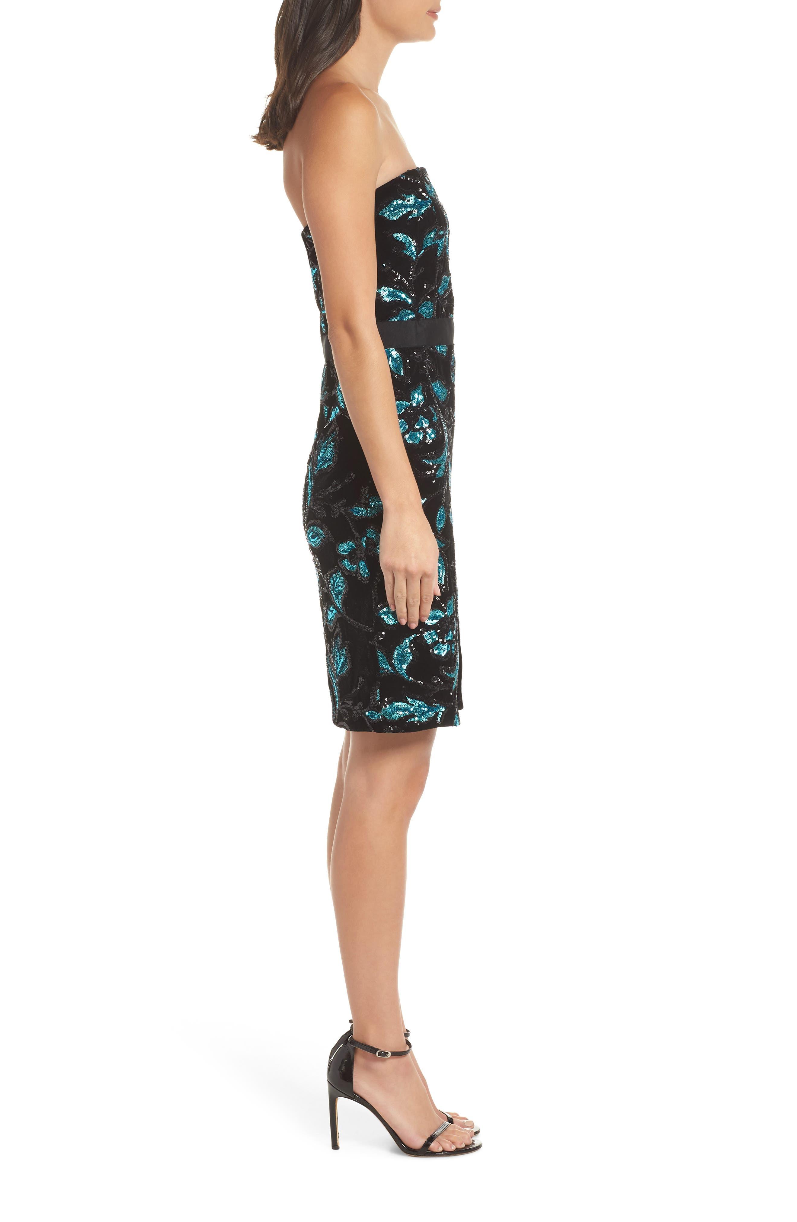 Strapless Sequin Velvet Sheath Dress,                             Alternate thumbnail 3, color,                             BLACK/ TEAL