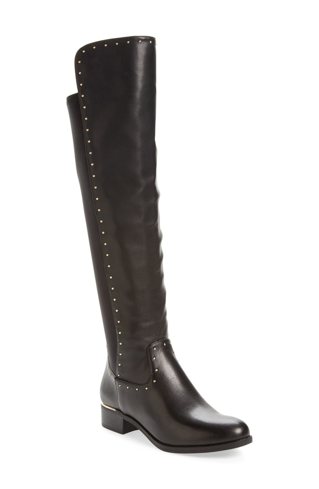 CALVIN KLEIN,                             Cynthia Studded Riding Boot,                             Main thumbnail 1, color,                             001