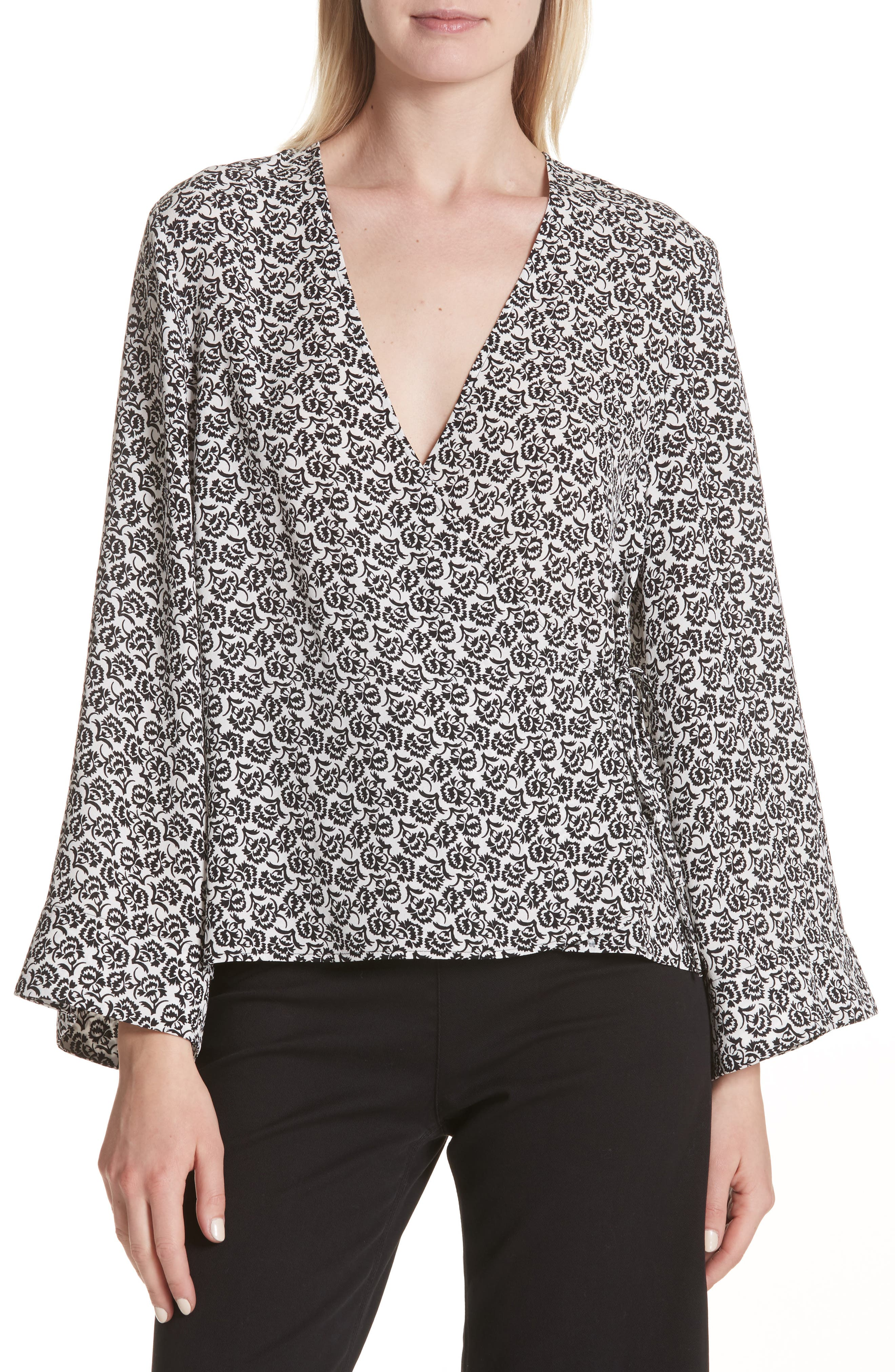 Ray Bell Sleeve Wrap Top,                         Main,                         color, 110