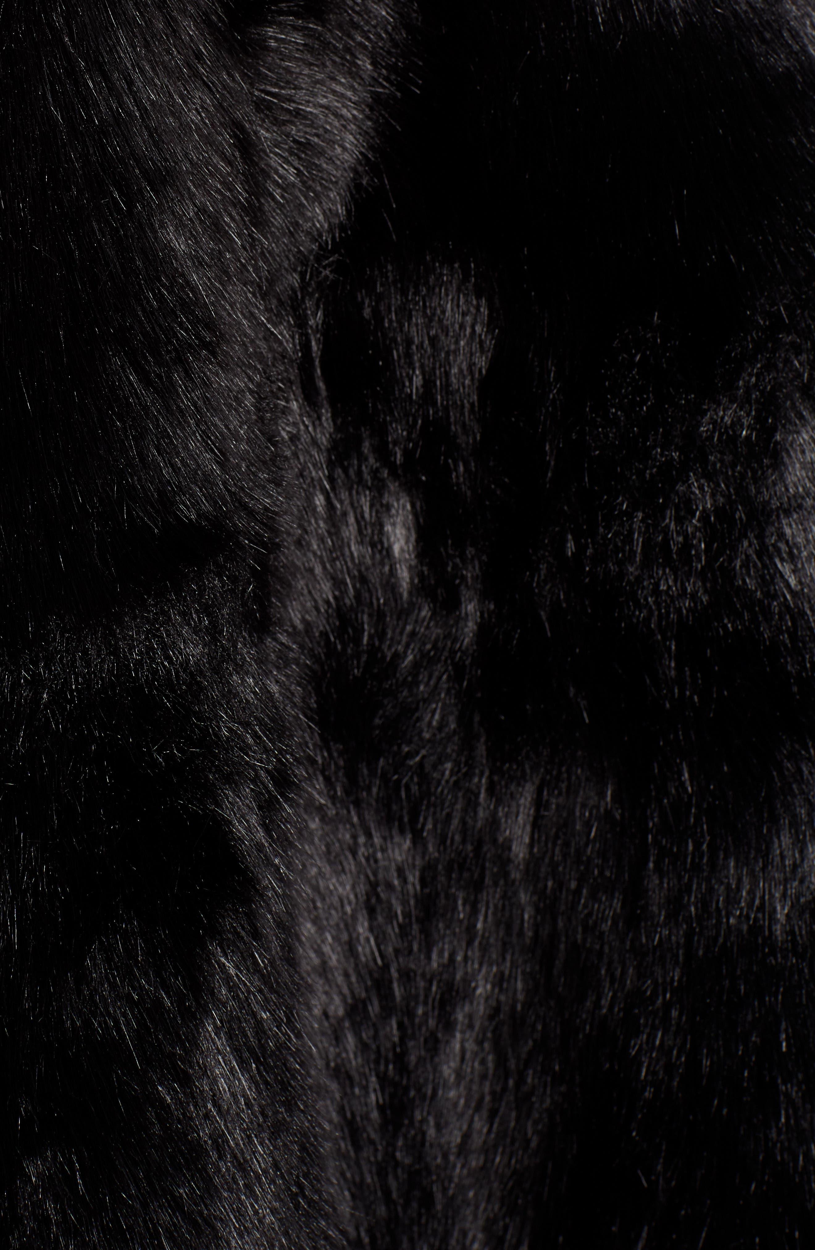 Faux Fur Cape,                             Alternate thumbnail 5, color,                             BLACK SHORT FOX