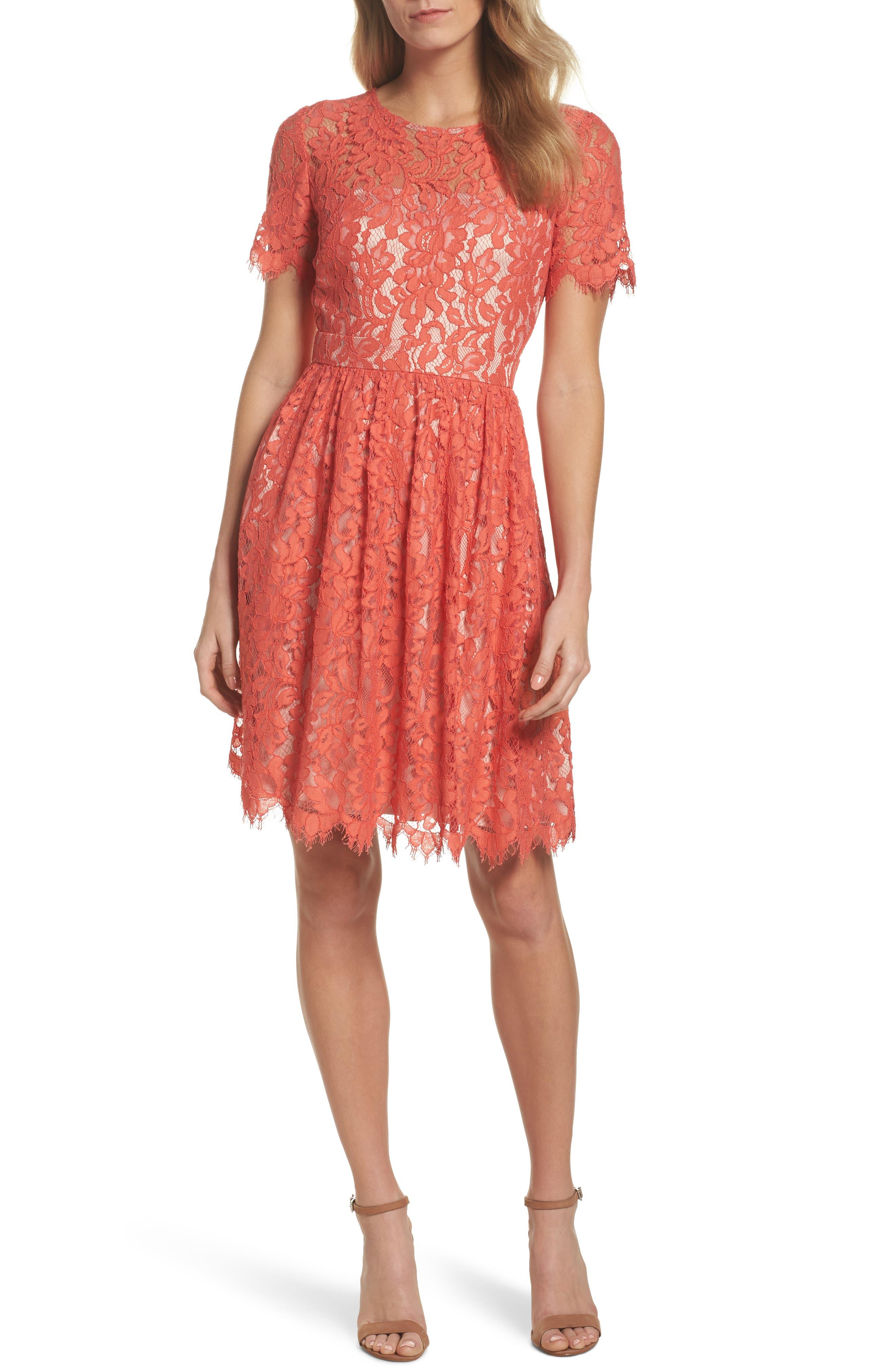 Lace Fit & Flare Dress,                             Main thumbnail 1, color,                             651