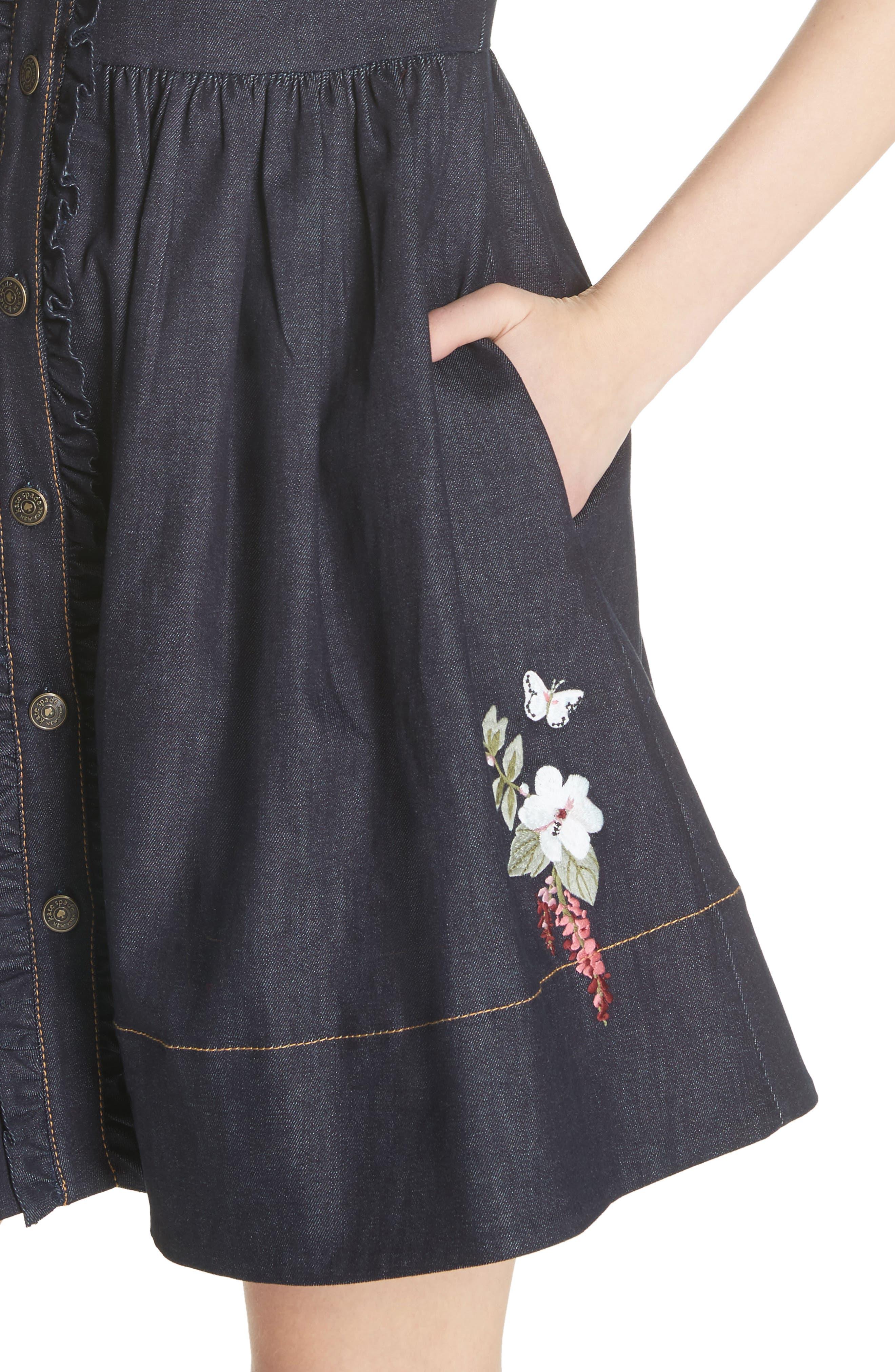 embroidered denim shirtdress,                             Alternate thumbnail 4, color,