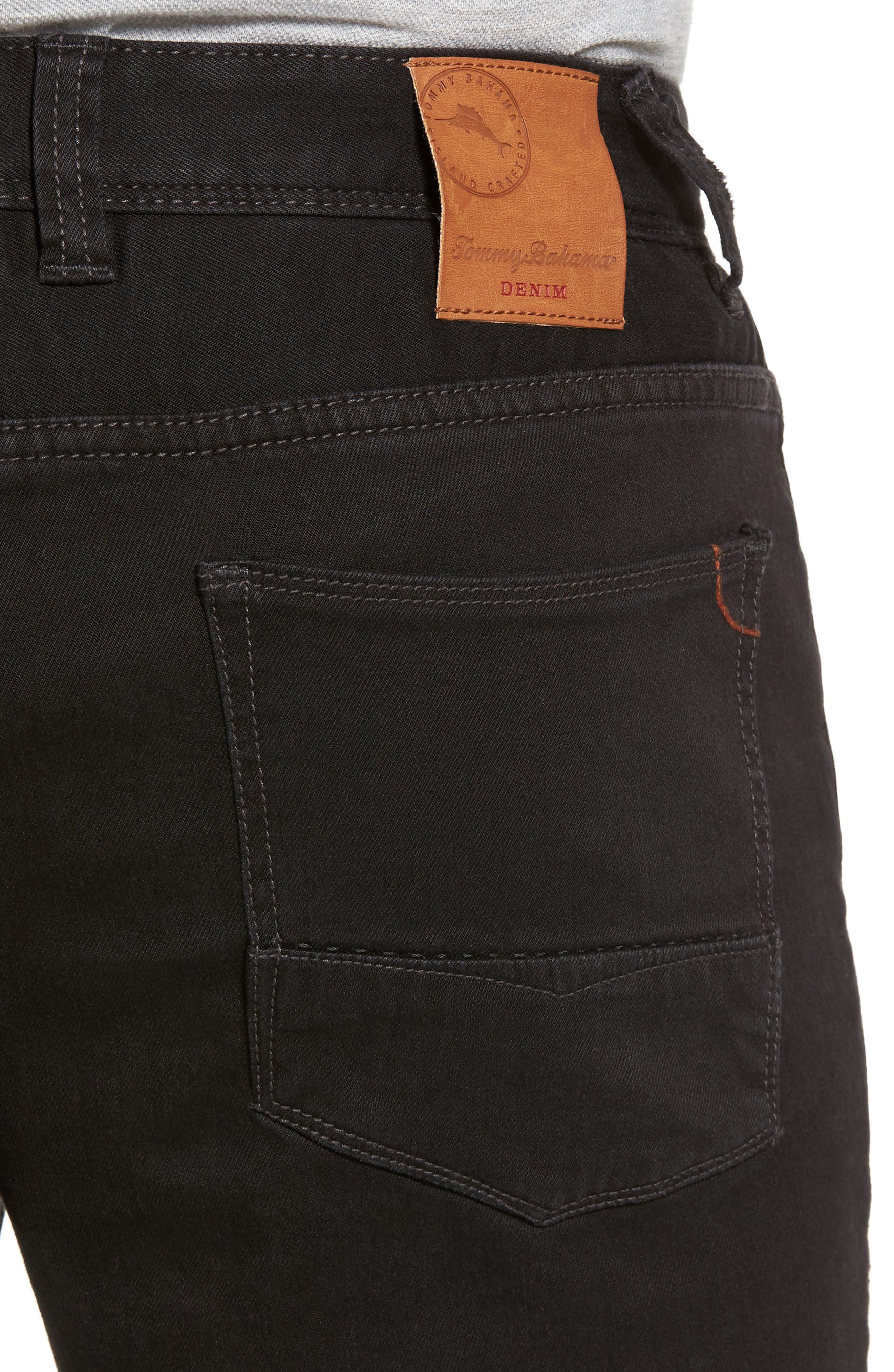Sand Straight Leg Jeans,                             Alternate thumbnail 4, color,                             BLACK OVERDYE