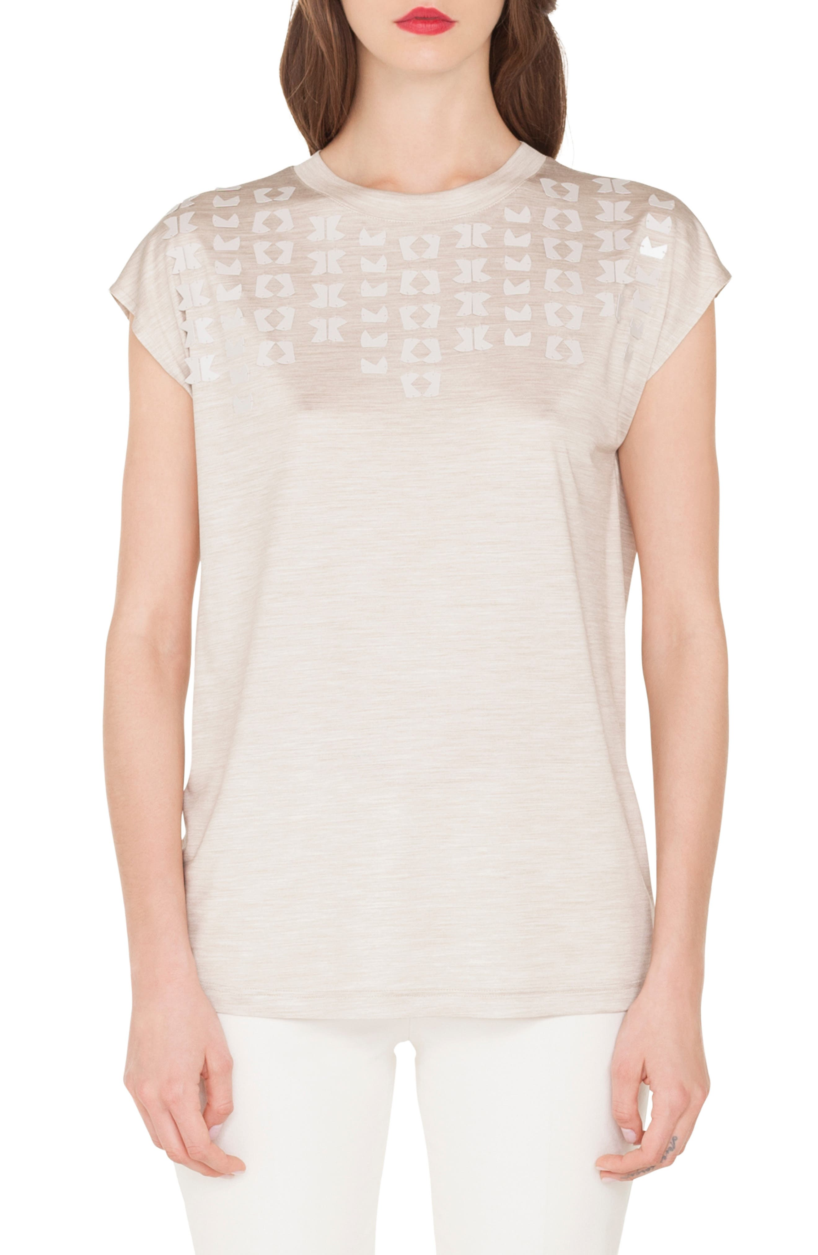 Embellished Silk Jersey Tee, Main, color, CANVAS