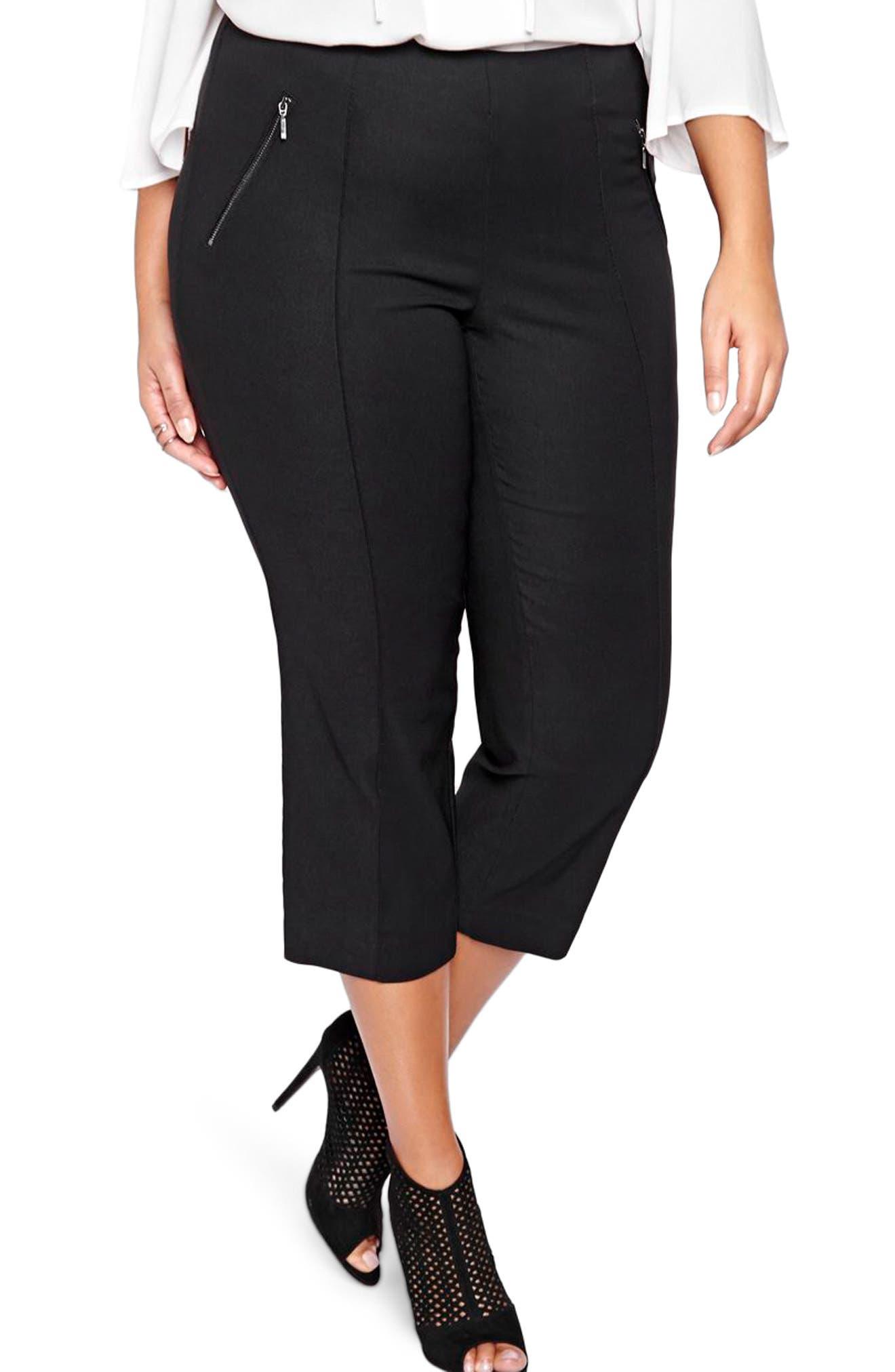 MICHEL STUDIO Alexa Crop Pants, Main, color, BLACK