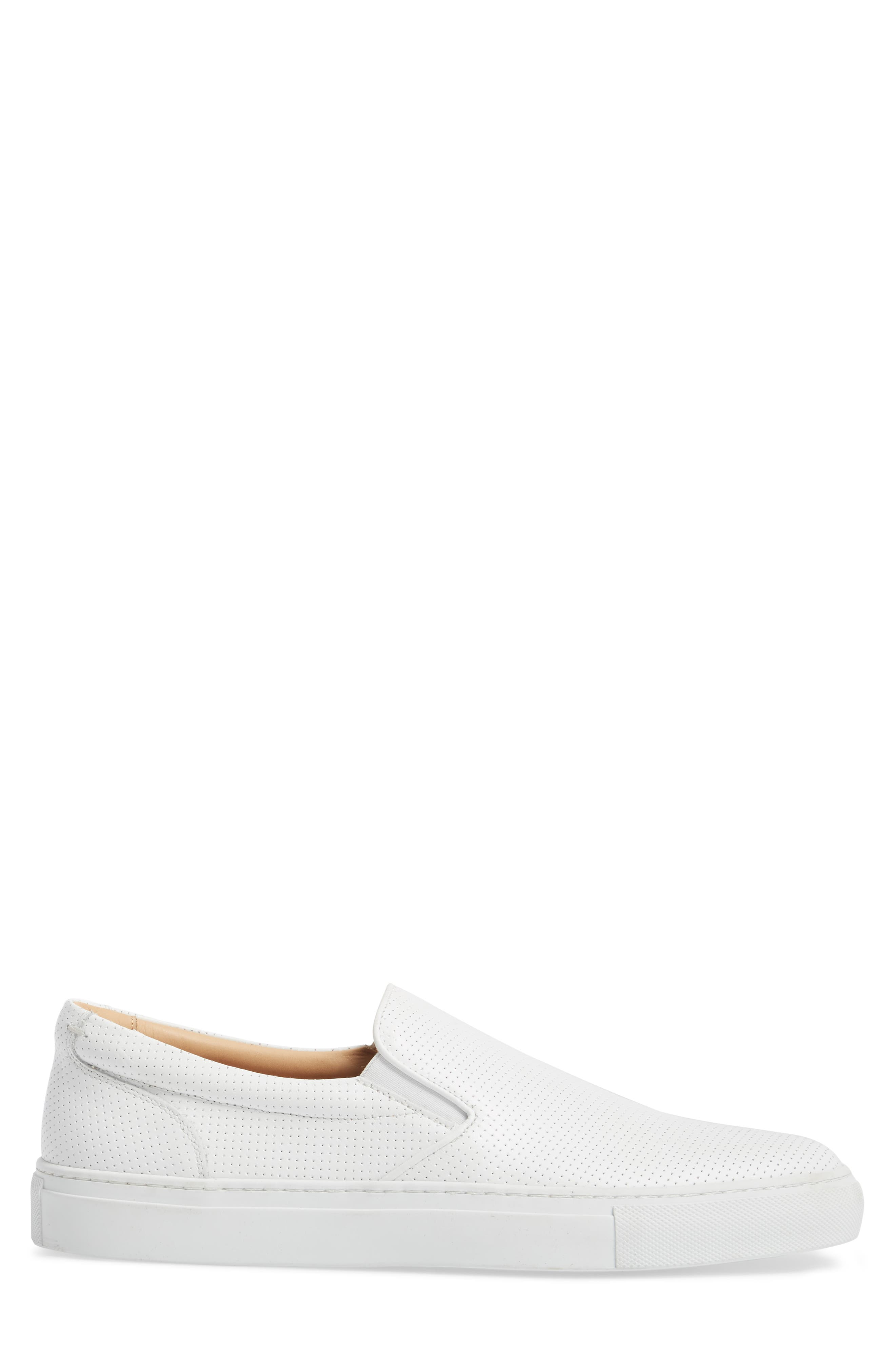 Wooster Slip-On Sneaker,                             Alternate thumbnail 3, color,                             WHITE PERFORATED LEATHER