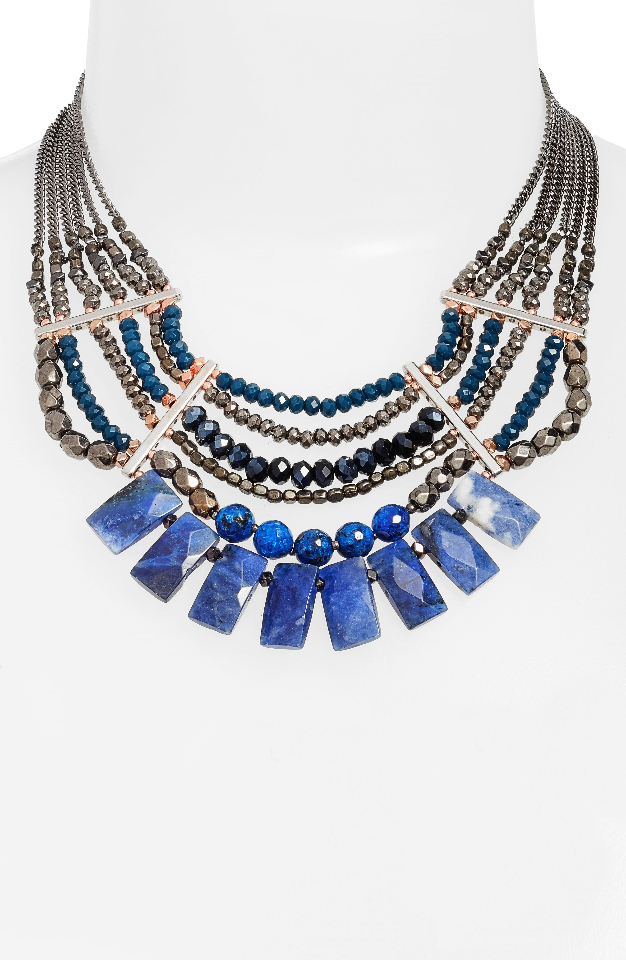 Semiprecious Stone Beaded Fringe Collar Necklace,                             Alternate thumbnail 2, color,