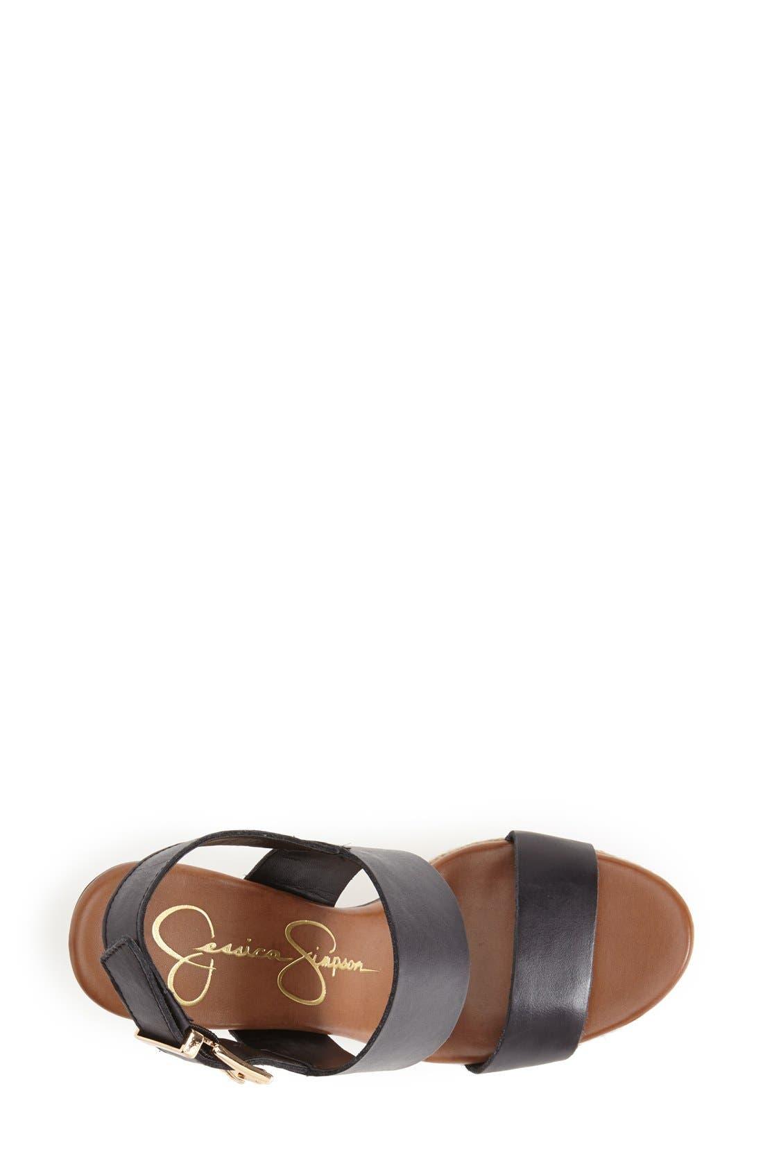 'Allyn' Wedge Platform Leather Sandal,                             Alternate thumbnail 3, color,                             001
