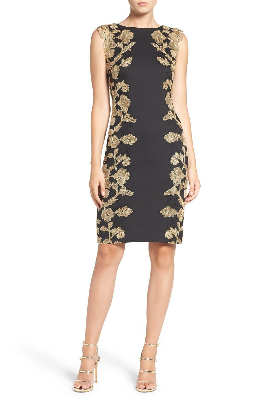 Embroidered Neoprene Sheath Dress,                             Alternate thumbnail 17, color,