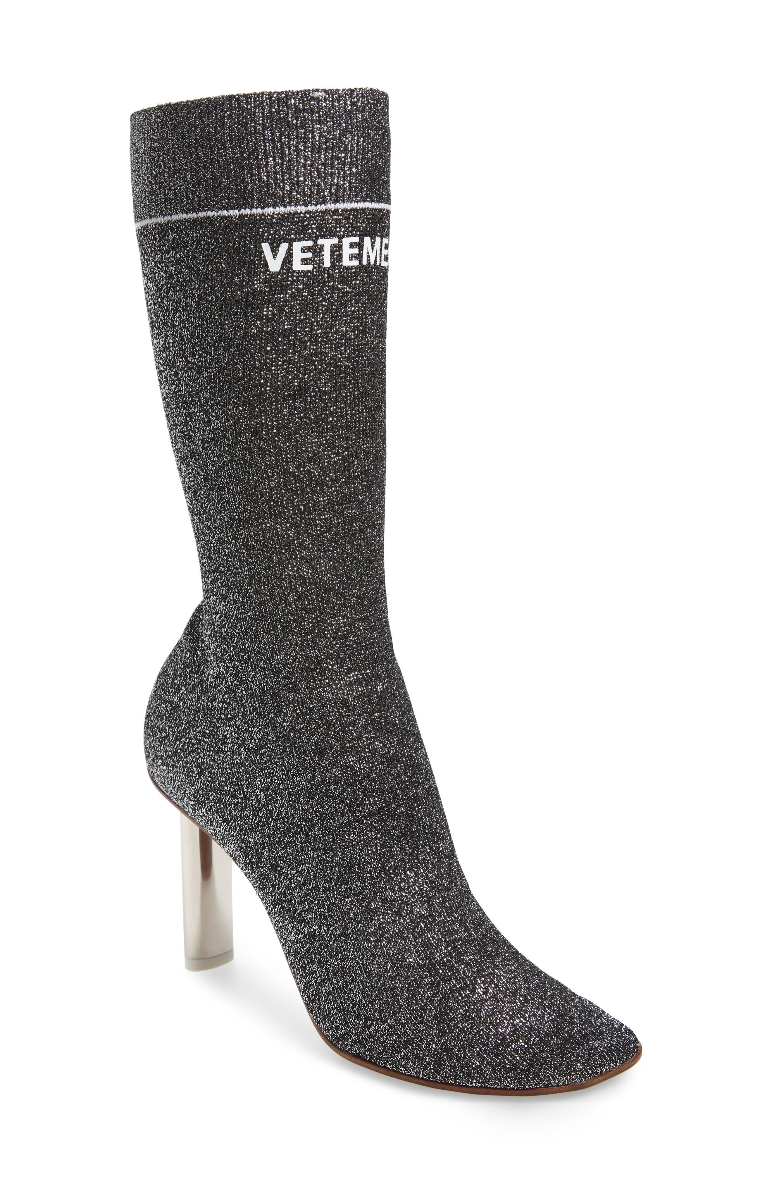 Lurex Sock Boot,                             Main thumbnail 1, color,                             SILVER/SILVER HEEL - 814