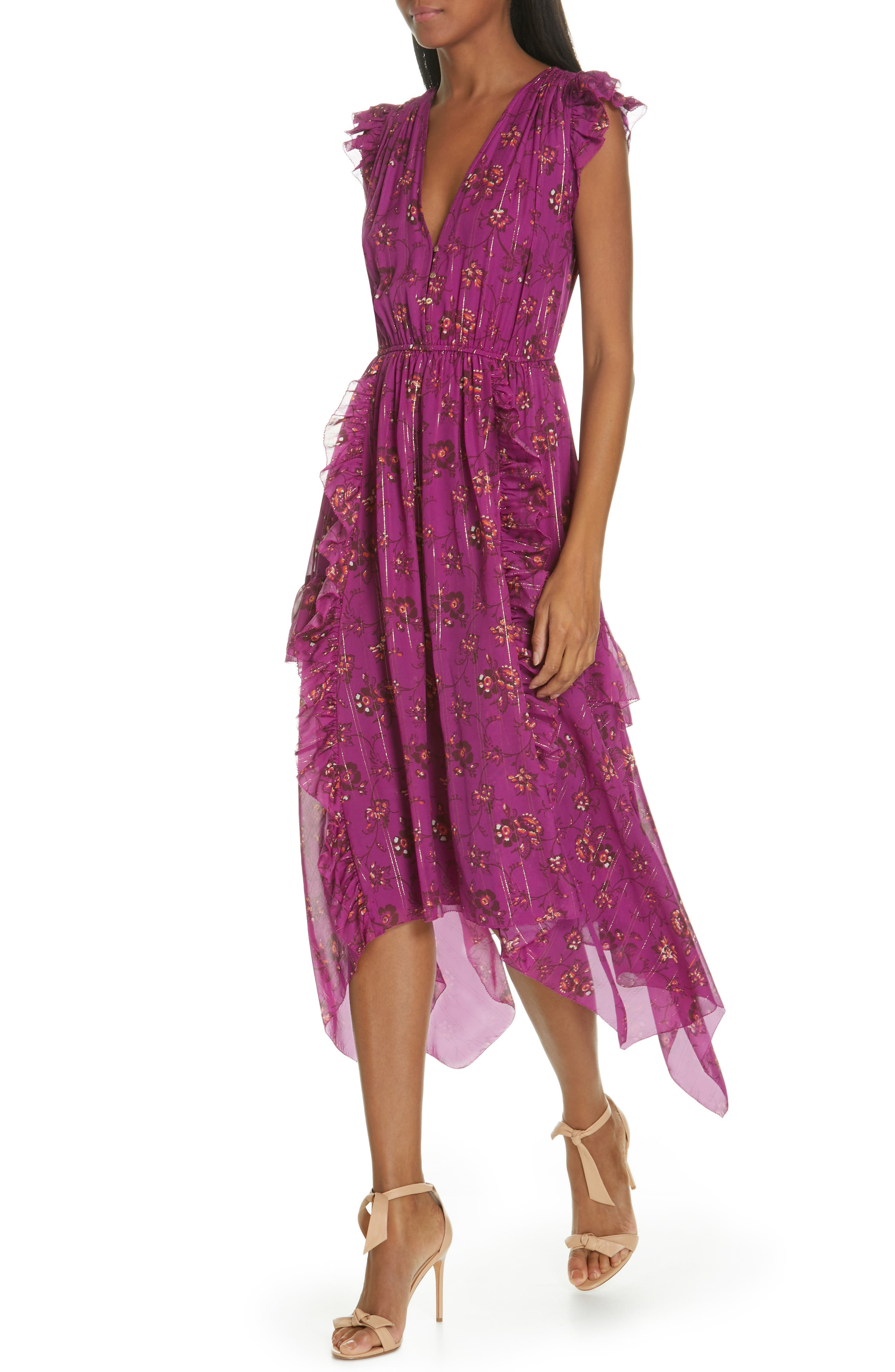 Ciel Floral Print Silk Blend Dress,                             Alternate thumbnail 4, color,                             MAGENTA