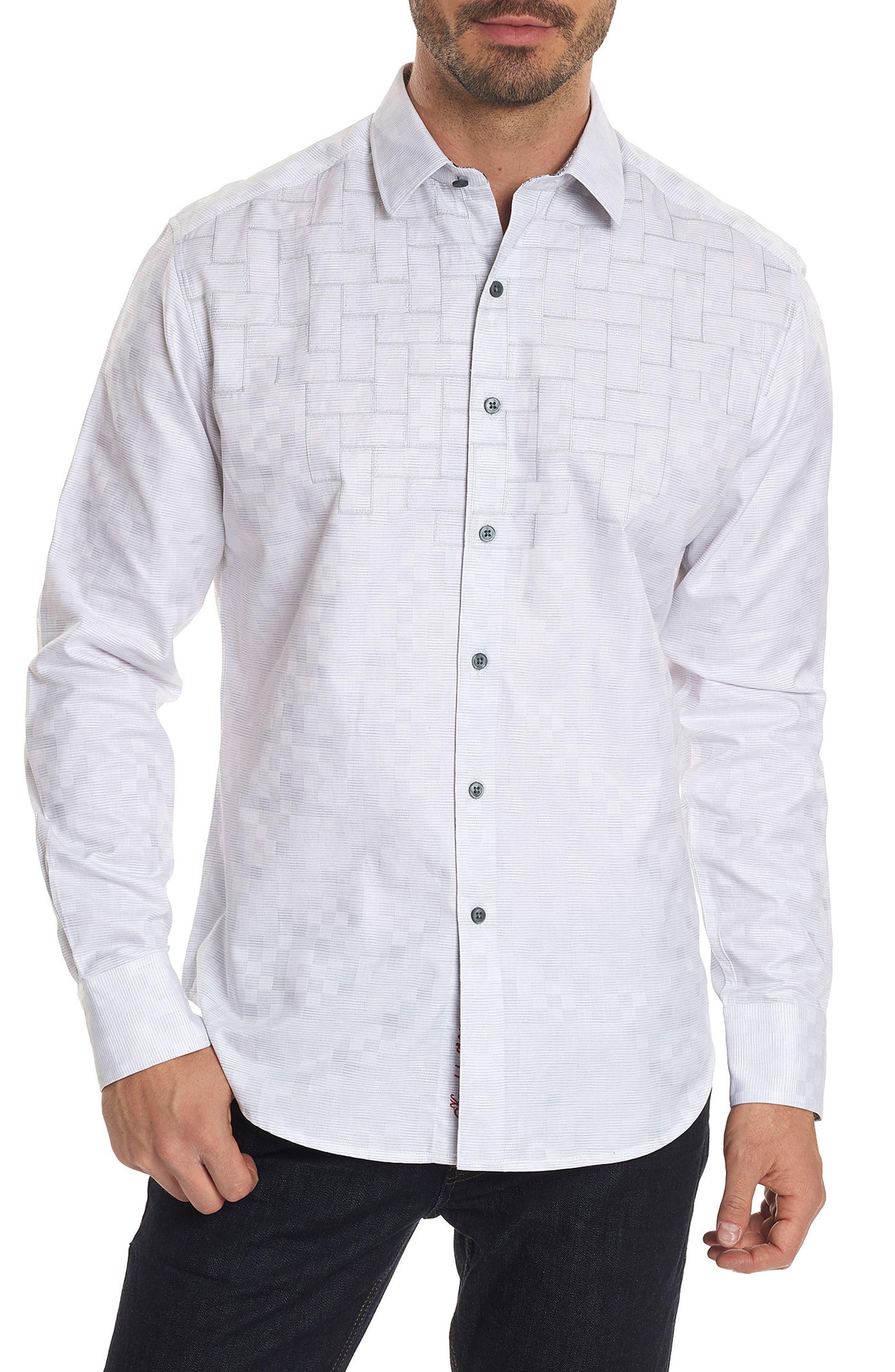 Transient Classic Fit Print Sport Shirt,                         Main,                         color, WHITE
