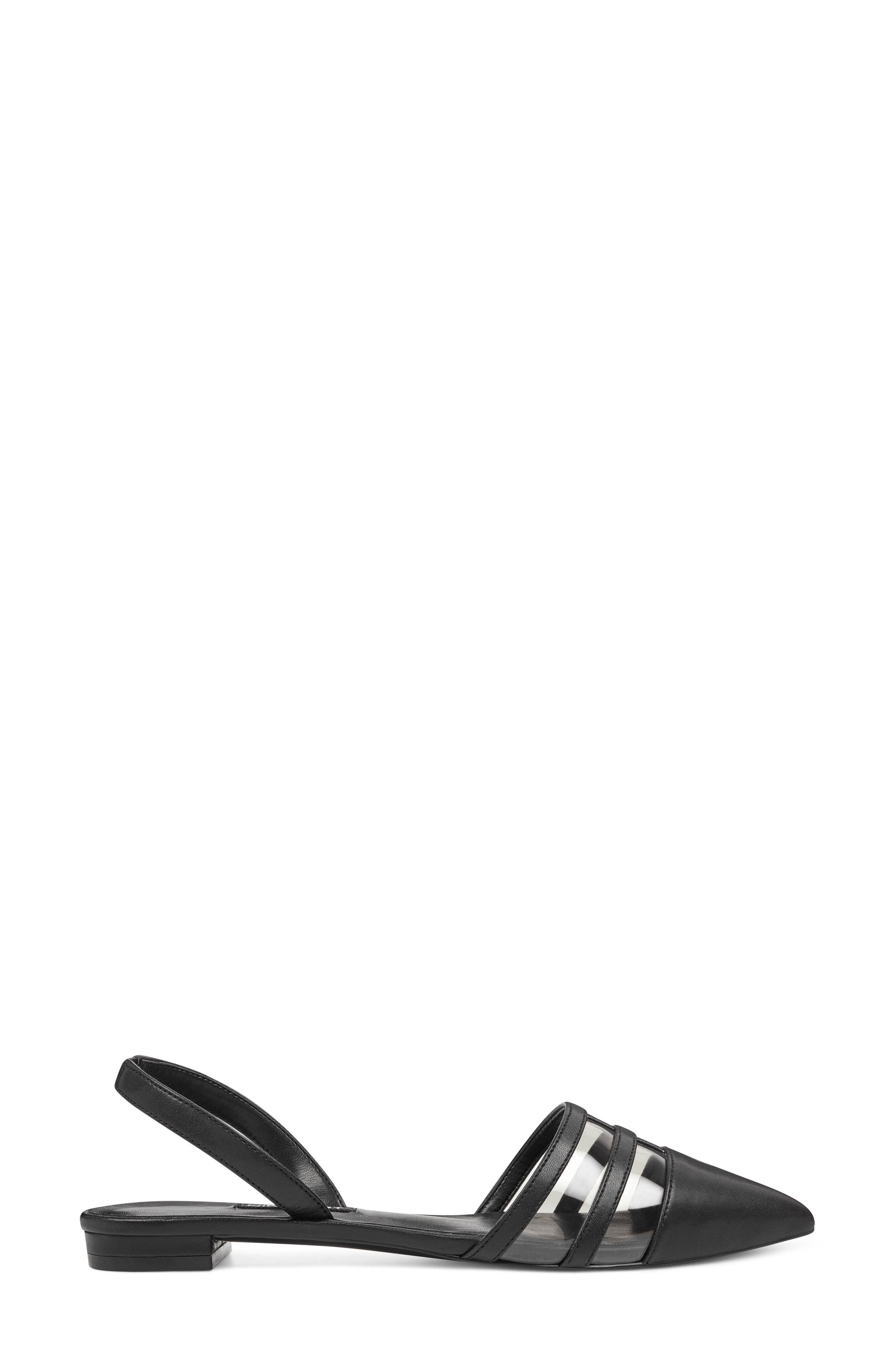 Pointy Toe Flat,                             Alternate thumbnail 3, color,                             GREY/ BLACK FAUX LEATHER