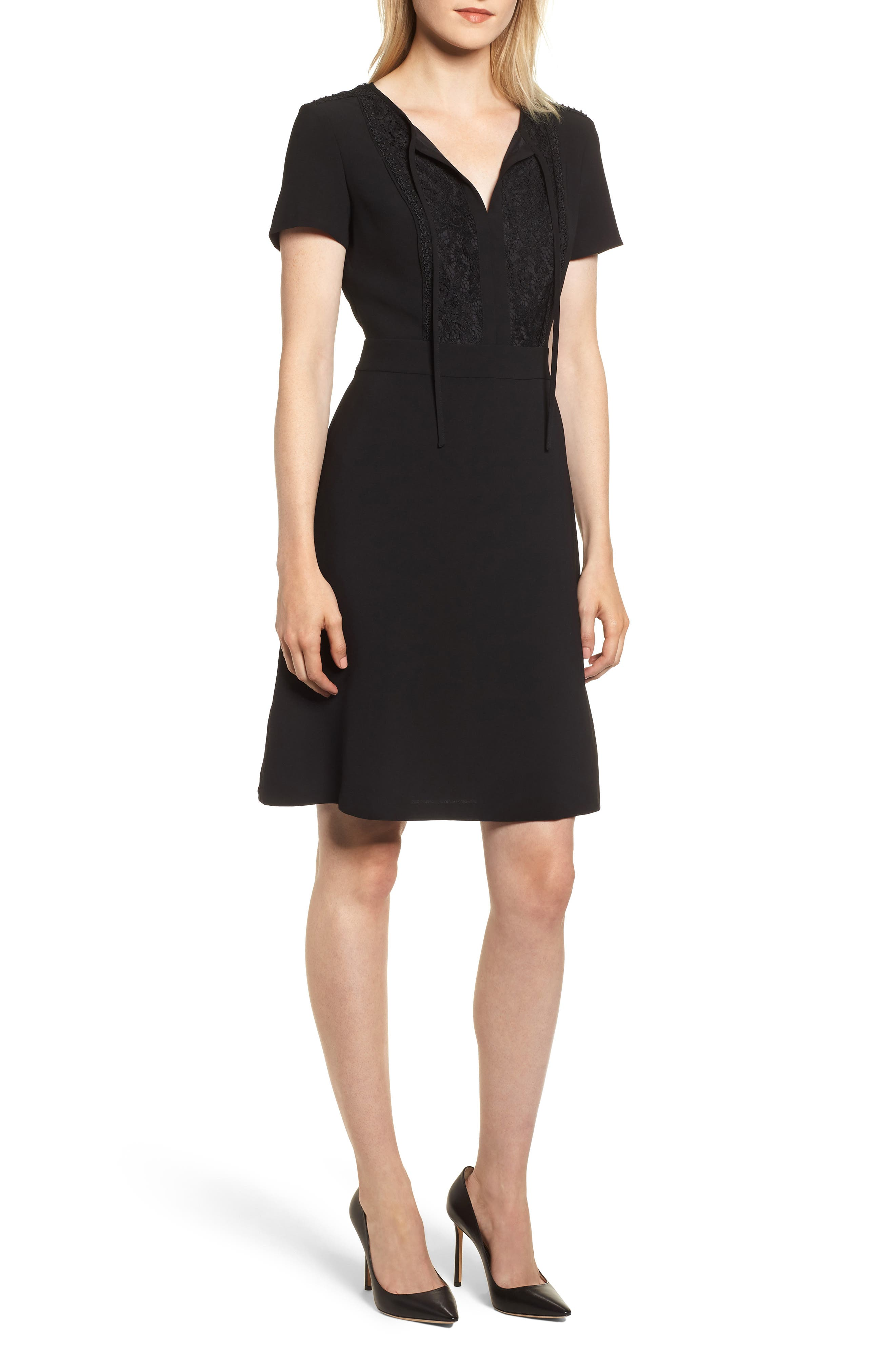 Lace Bib Sheath Dress,                         Main,                         color, BLACK