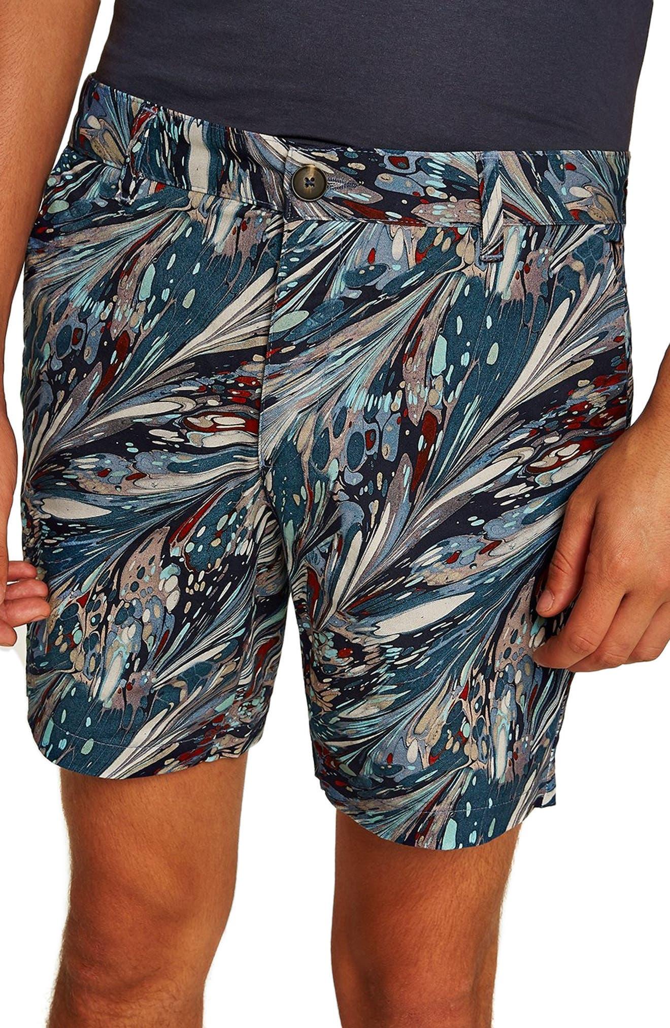 Marble Print Shorts,                             Main thumbnail 1, color,                             BLUE