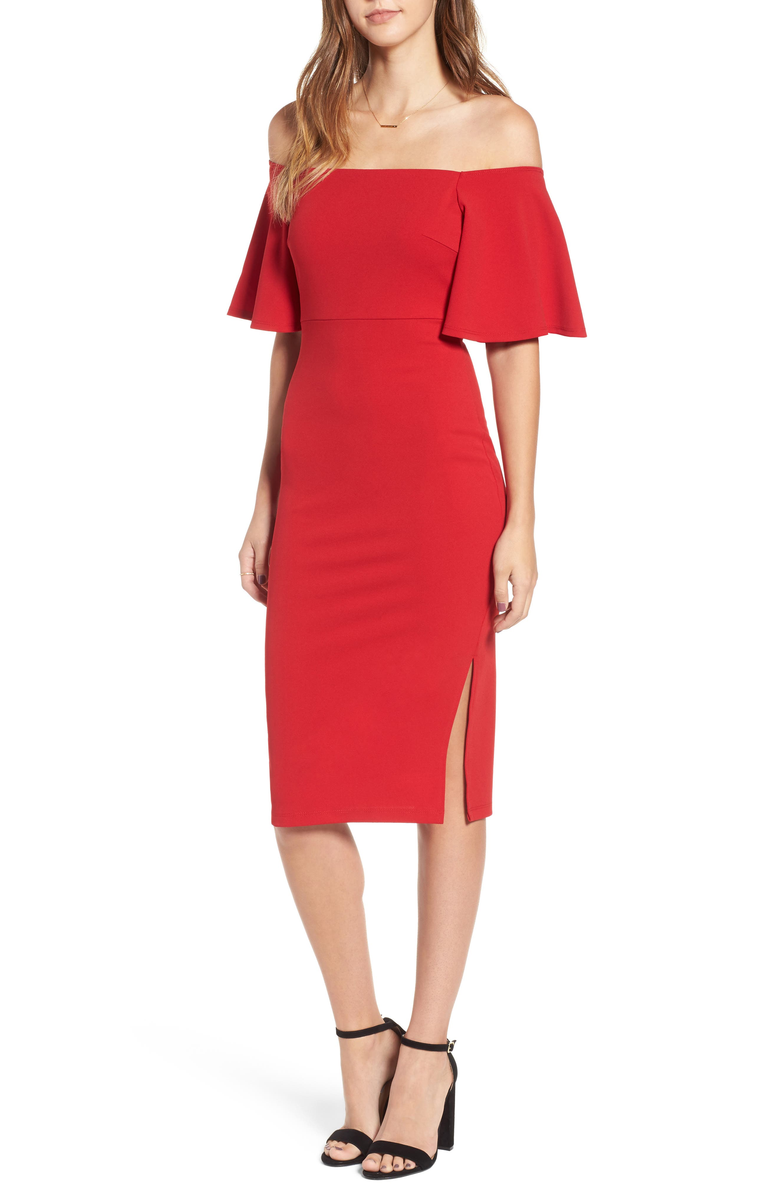 Off the Shoulder Ponte Body-Con Dress,                             Main thumbnail 2, color,