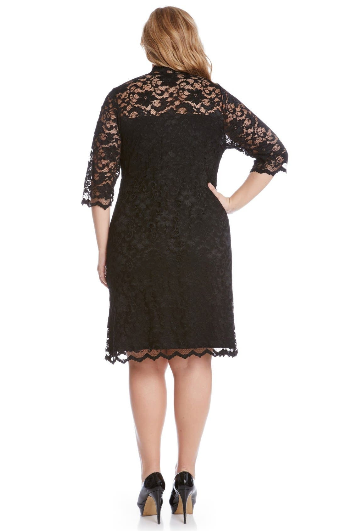 Scalloped Stretch Lace Dress,                             Alternate thumbnail 2, color,                             BLACK