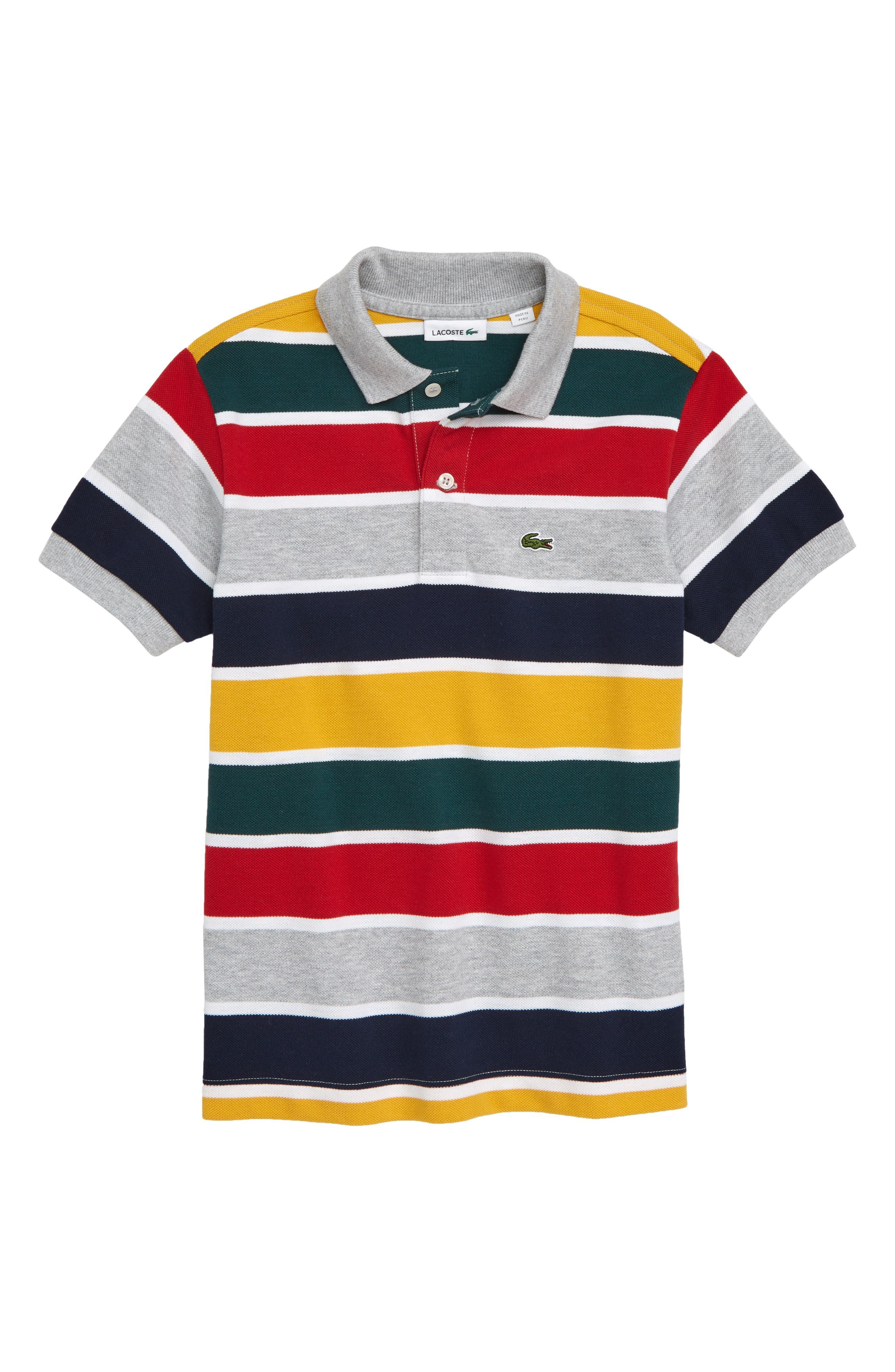 Multicolor Stripe Piqué Polo,                         Main,                         color, WHITE/ RED