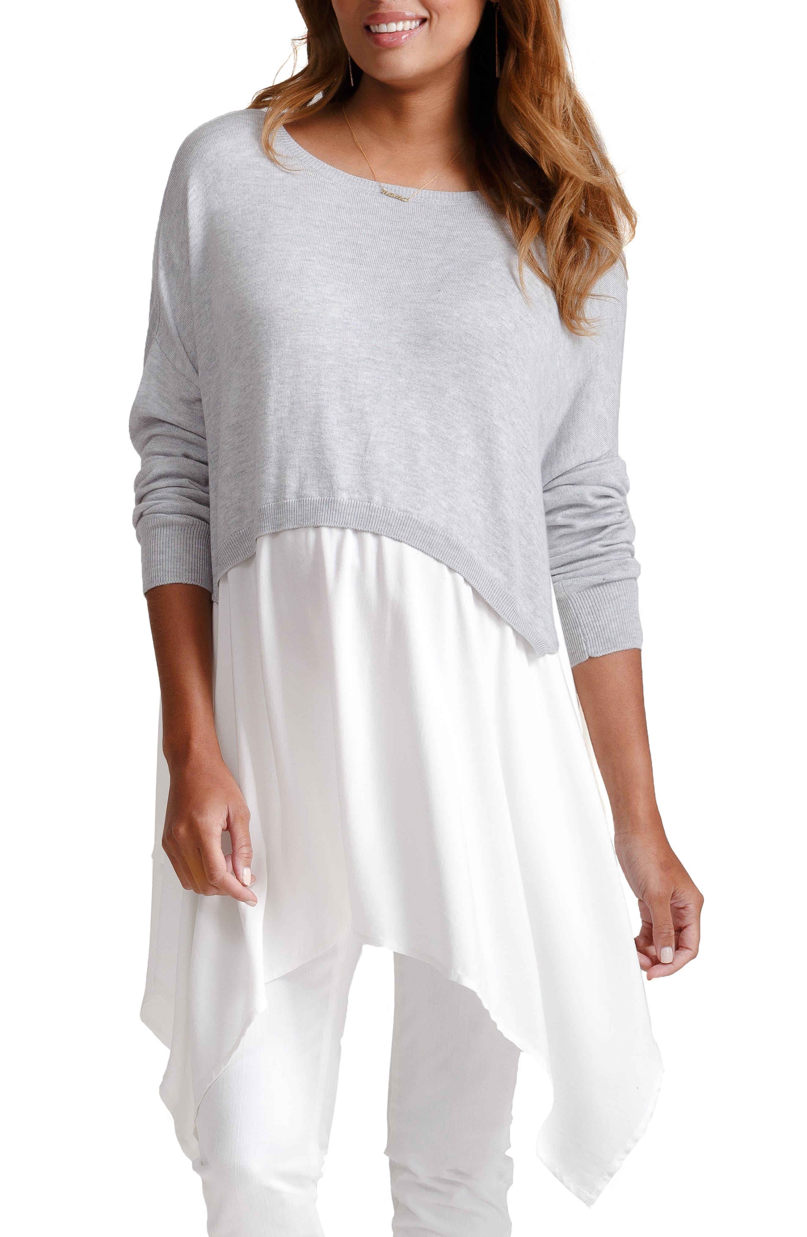 Drapey Swing Mixed Media Maternity/Nursing Sweater, Main, color, LIGHT HEATHER GRAY WITH IVORY