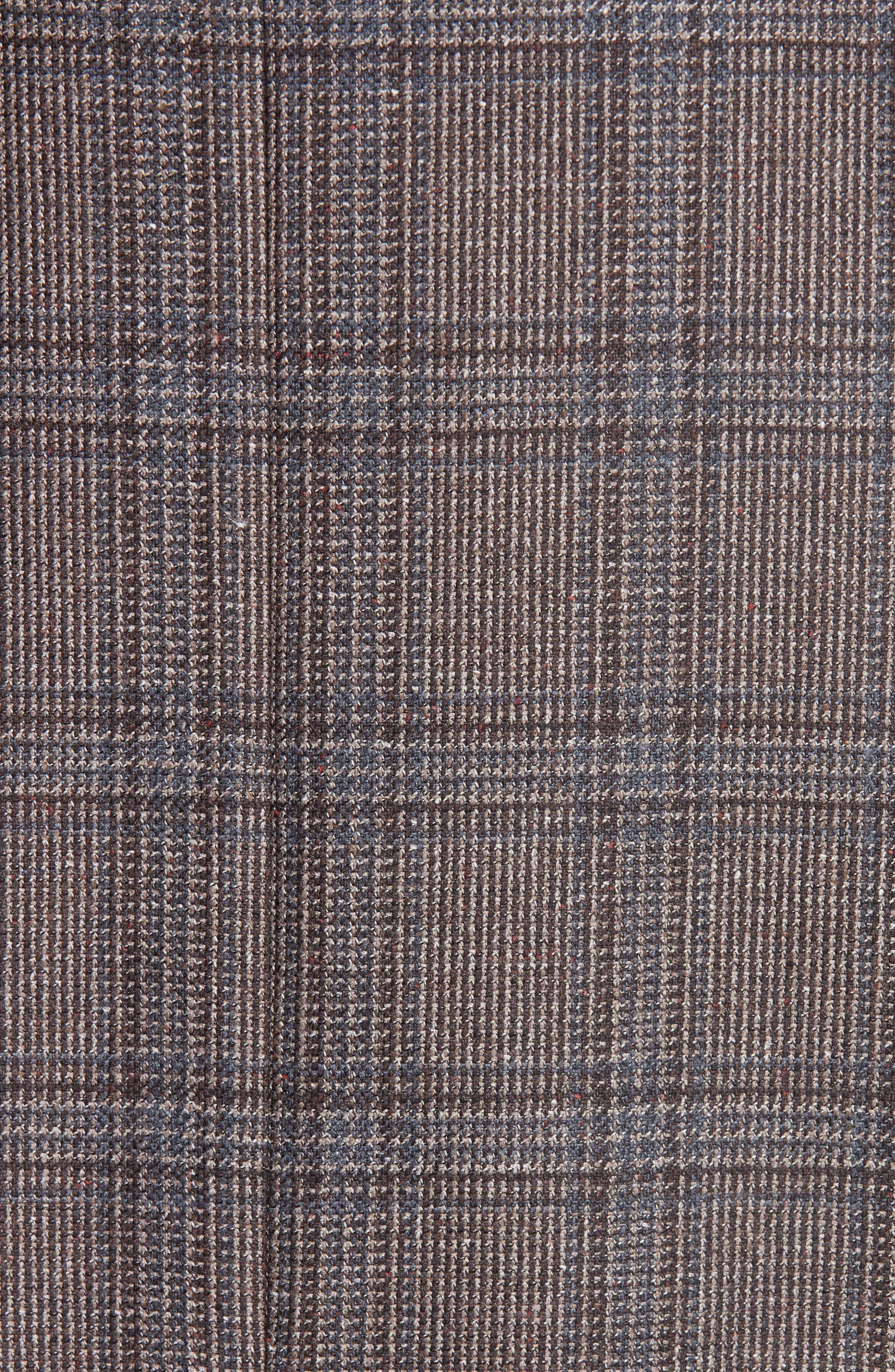G Line Trim Fit Plaid Silk & Wool Sport Coat,                             Alternate thumbnail 6, color,                             BROWN