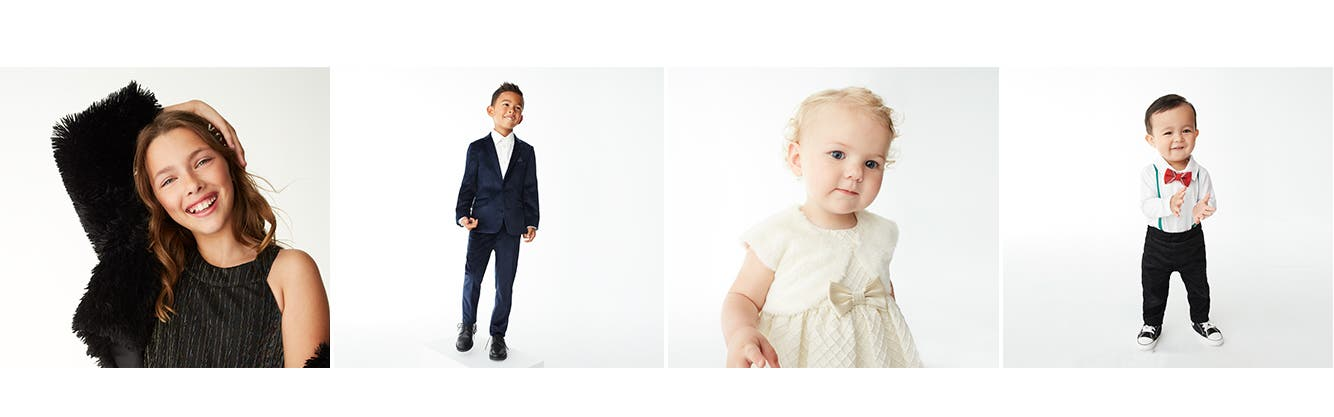 Special occasion clothing and shoes for girls and boys.