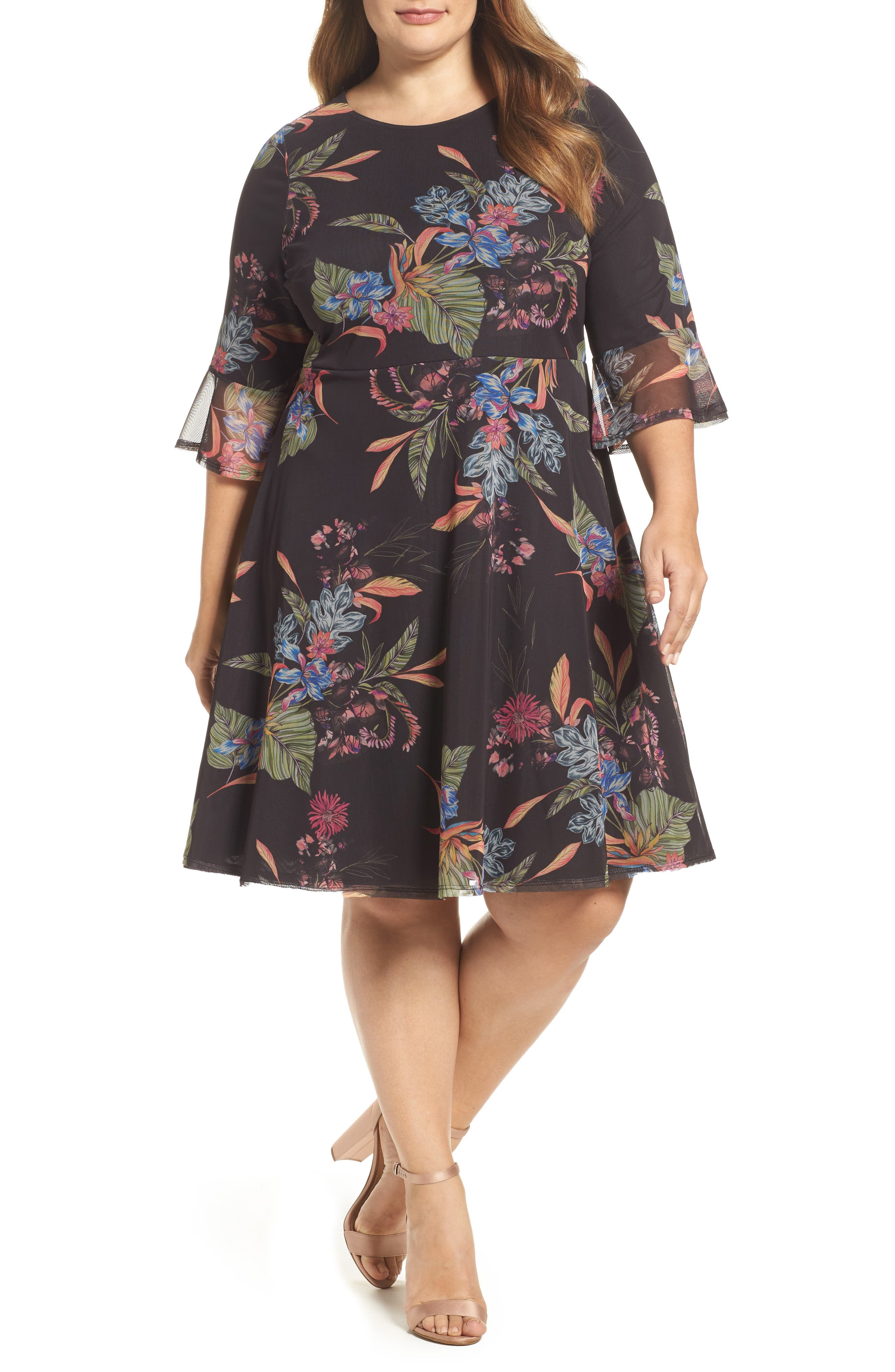 Tropic Print Mesh Dress,                             Main thumbnail 1, color,                             001