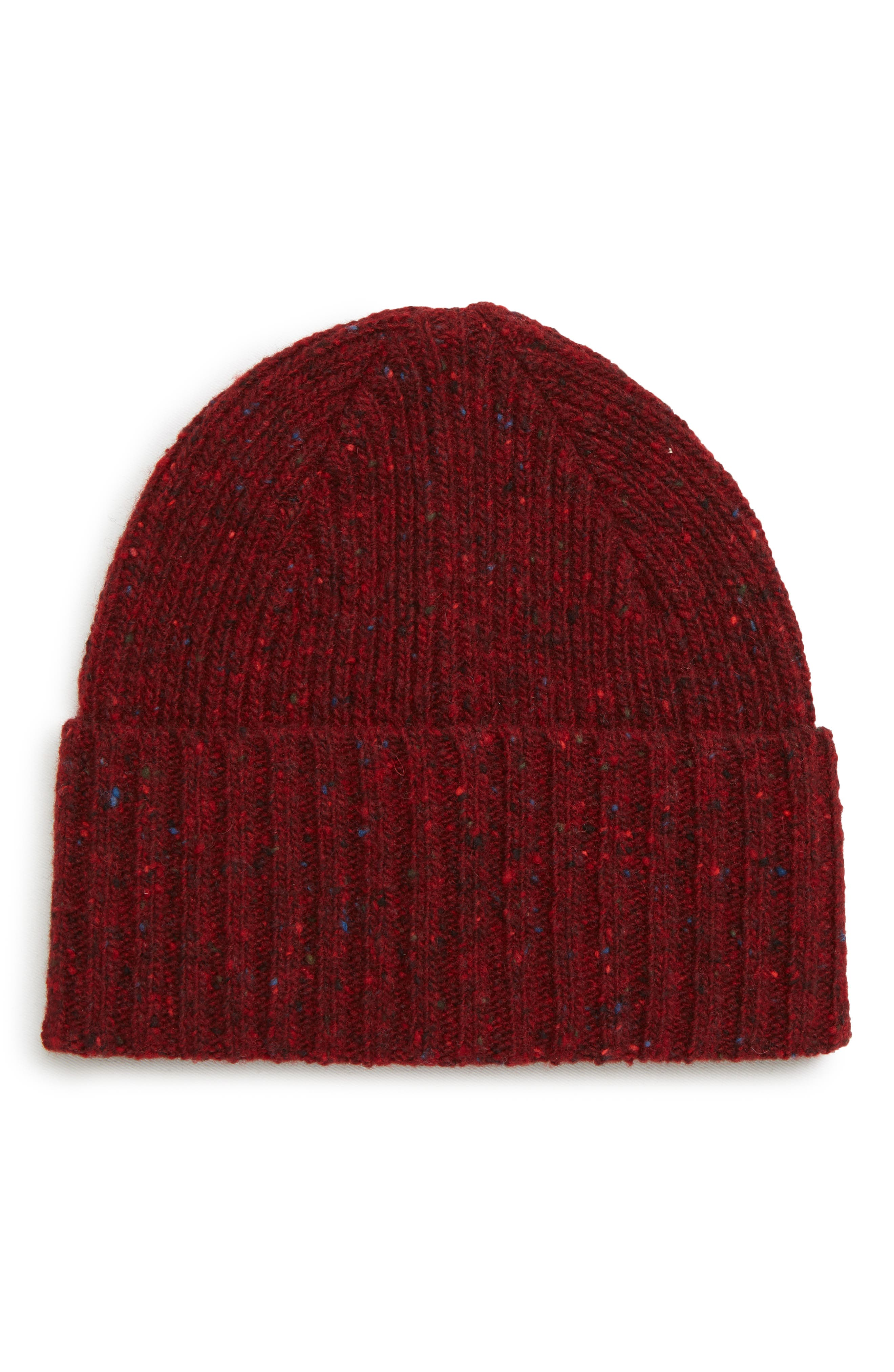 DRAKE'S Drakes Donegal Wool Beanie - Red