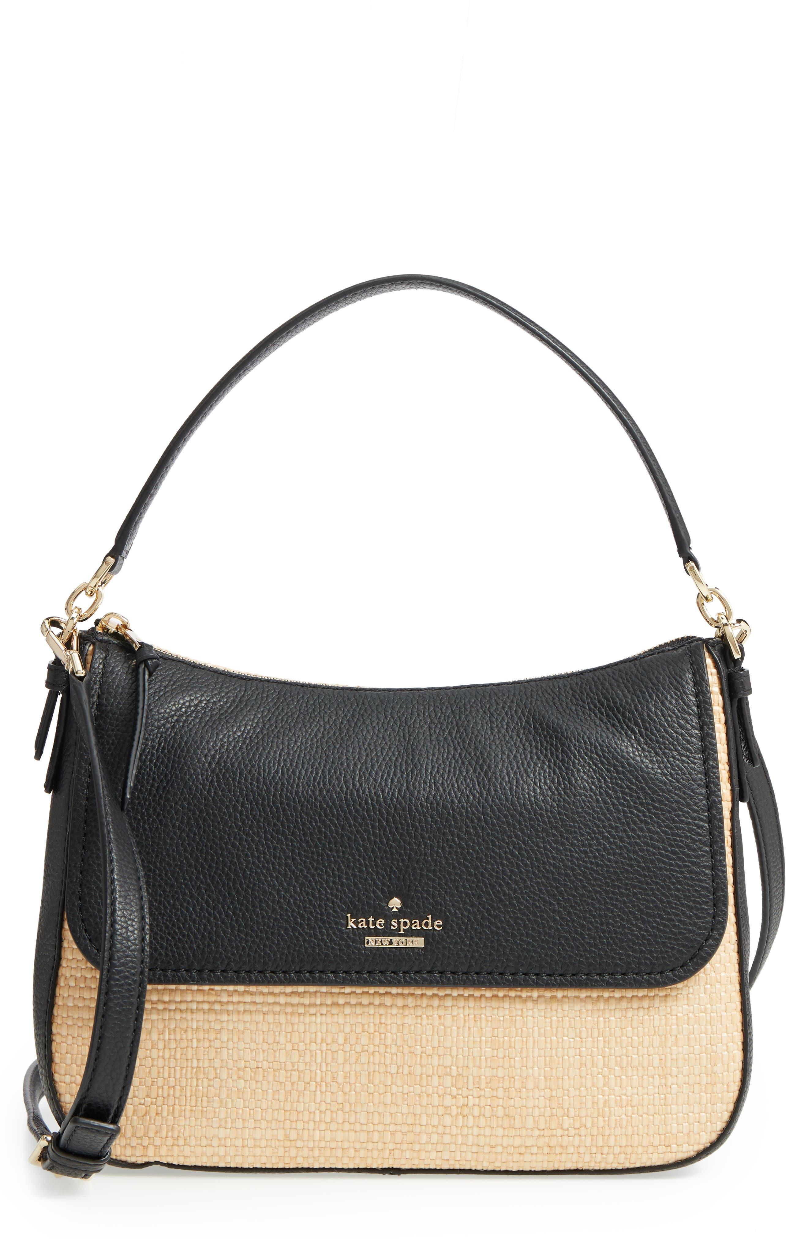 KATE SPADE NEW YORK jackson street - colette straw & leather satchel, Main, color, 257