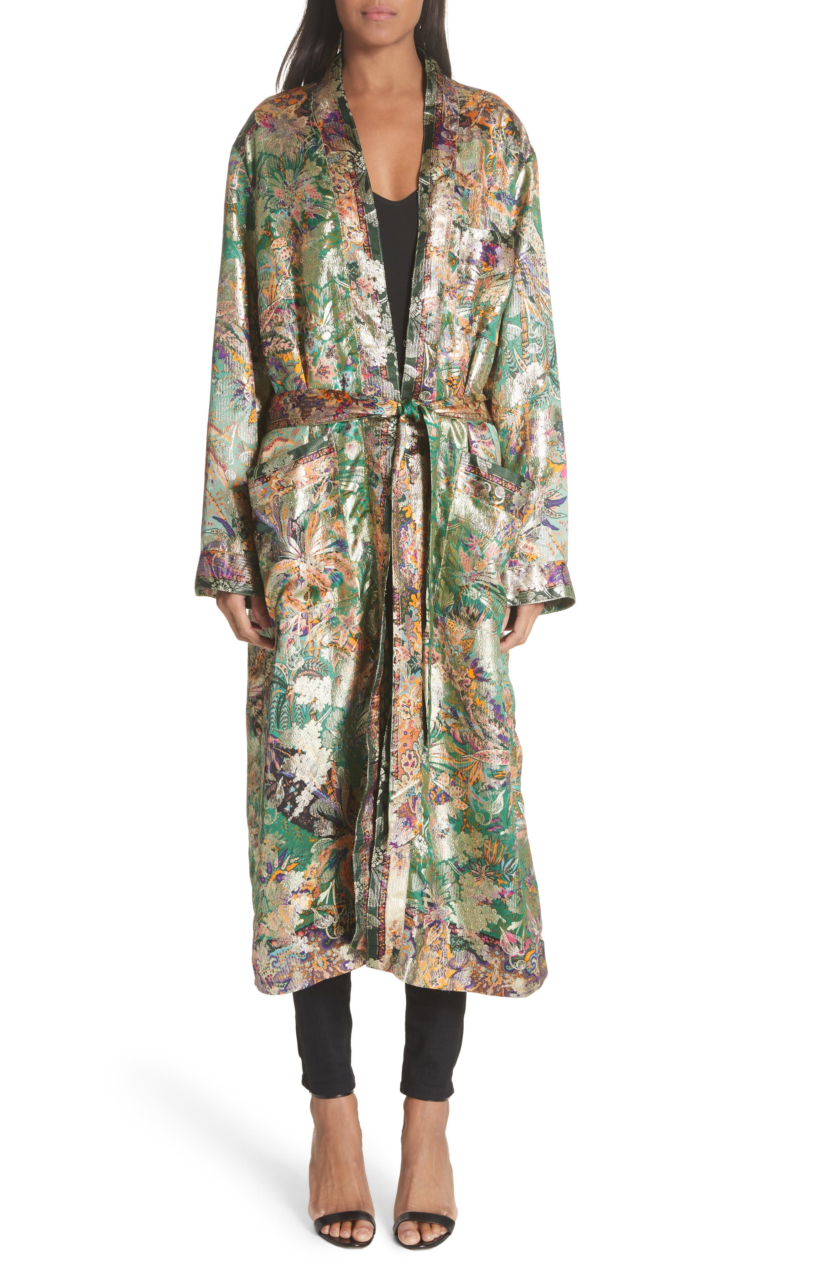 Tie Waist Silk Blend Metallic Jacquard Jacket,                         Main,                         color,