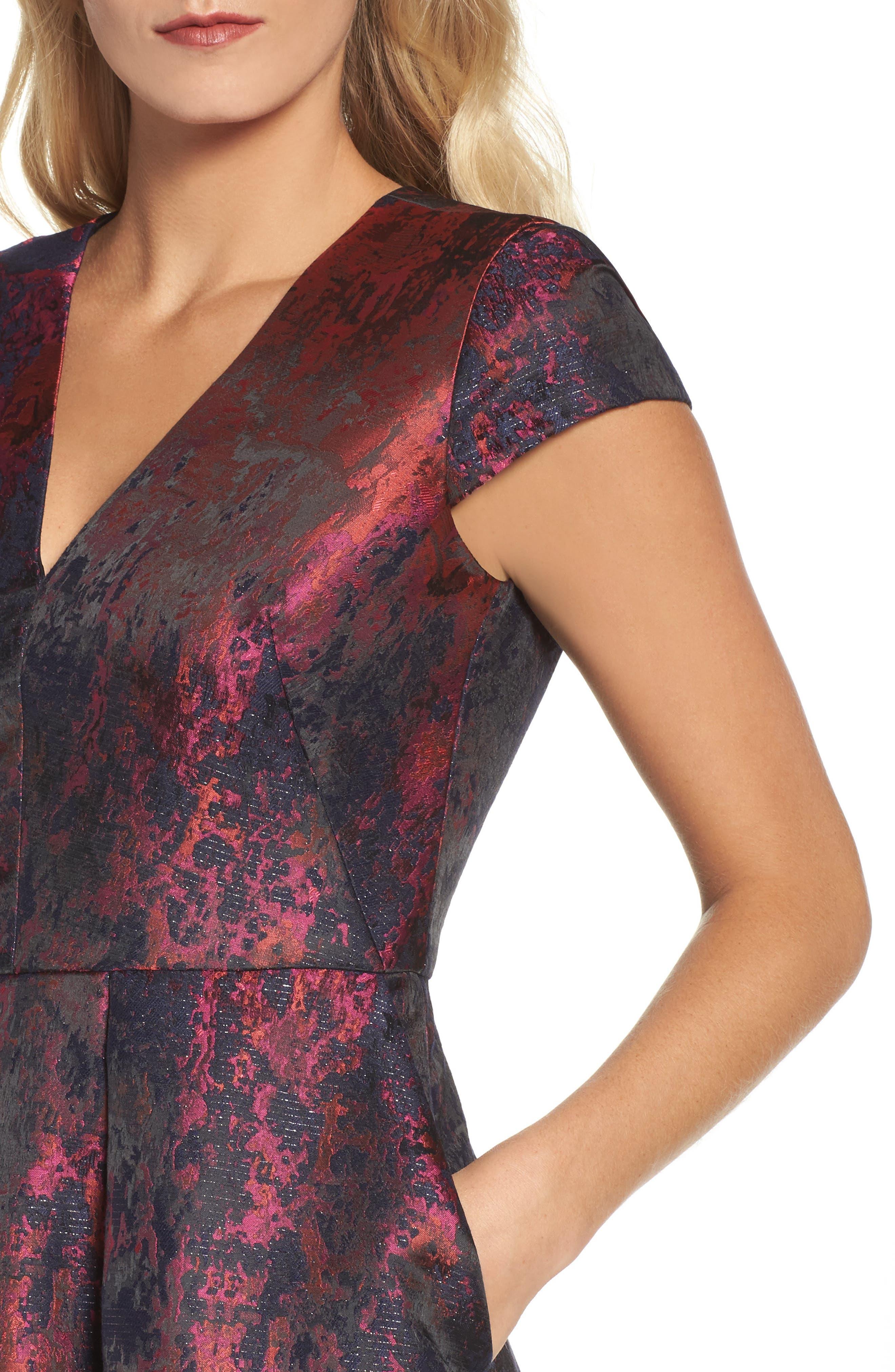 Jacquard Fit & Flare Dress,                             Alternate thumbnail 4, color,                             670