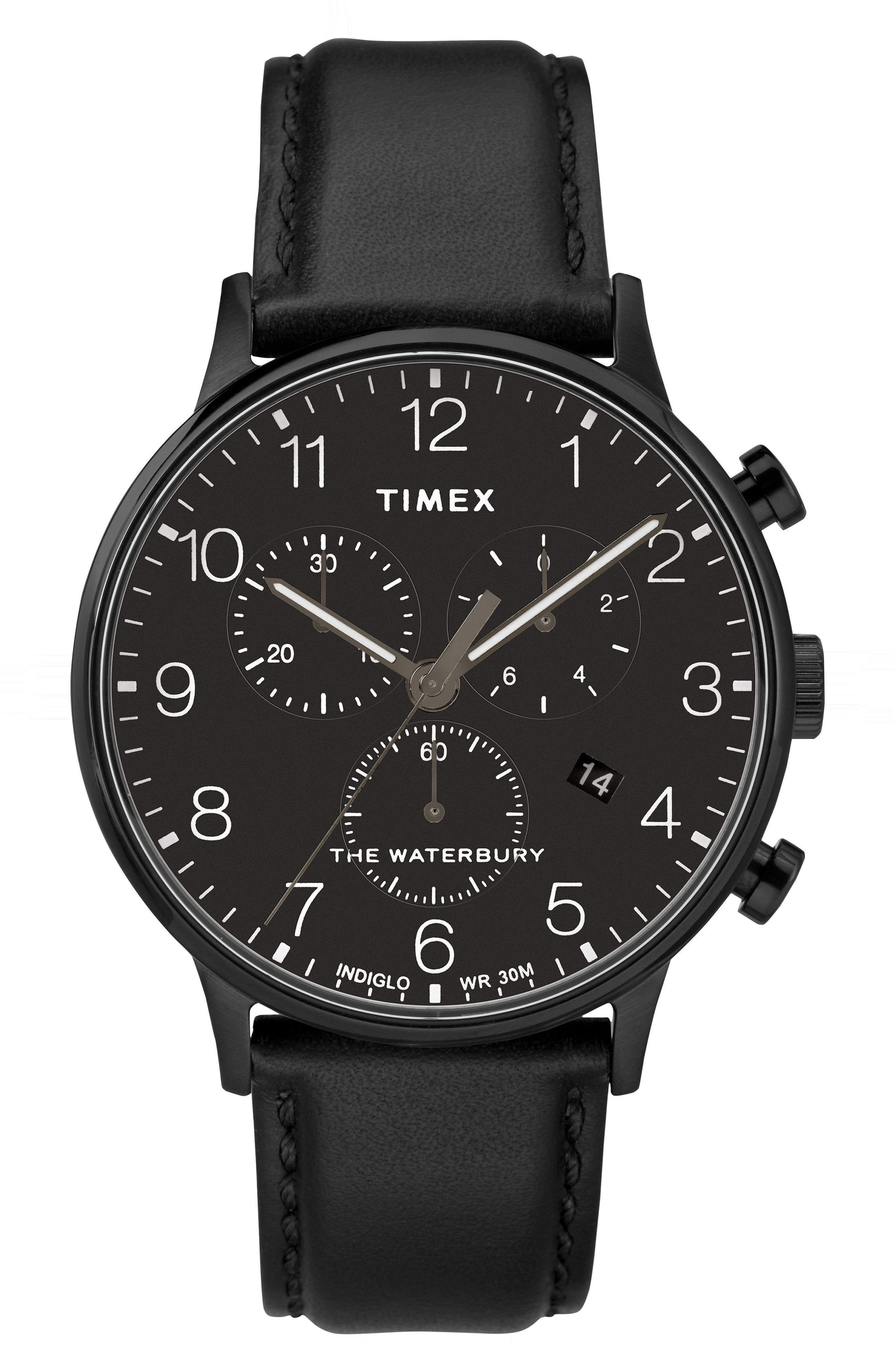 TIMEX<SUP>®</SUP>,                             Waterbury Chronograph Leather Strap Watch, 40mm,                             Main thumbnail 1, color,                             BLACK