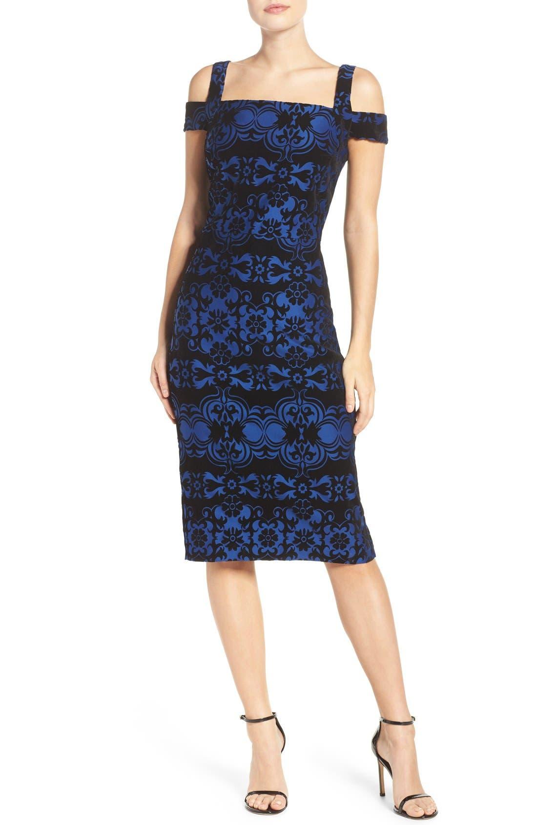 Flocked Midi Dress,                             Main thumbnail 1, color,