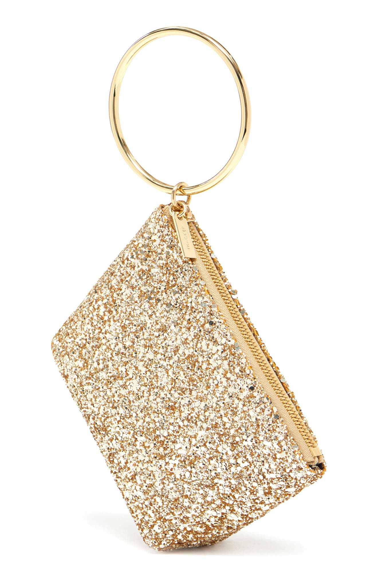 Small Ring Leather Pouch,                             Alternate thumbnail 4, color,                             GOLD GLITTER
