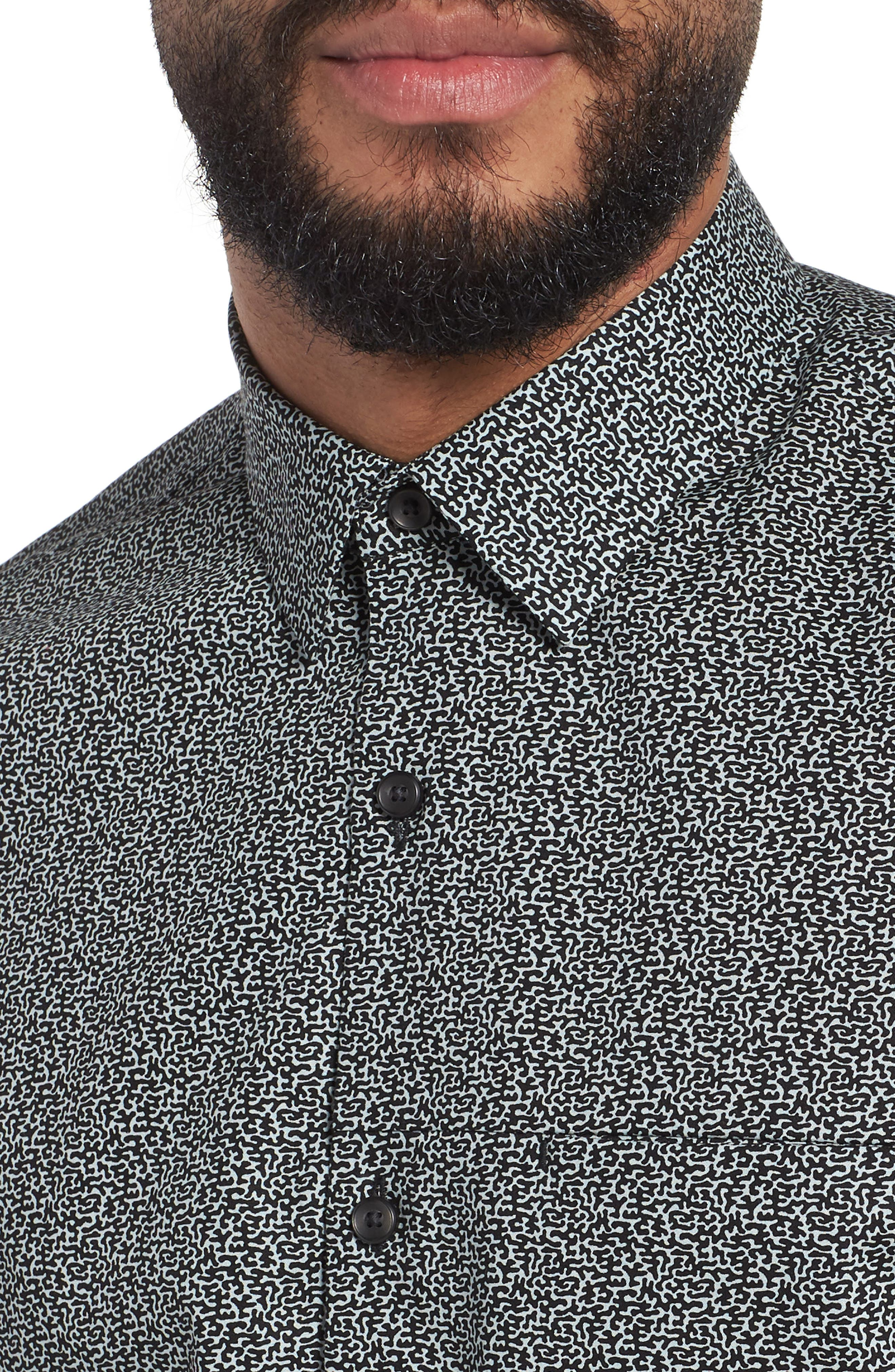 Trim Fit Print Sport Shirt,                             Alternate thumbnail 4, color,                             BLUE CLOUD BLACK ABSTRACT