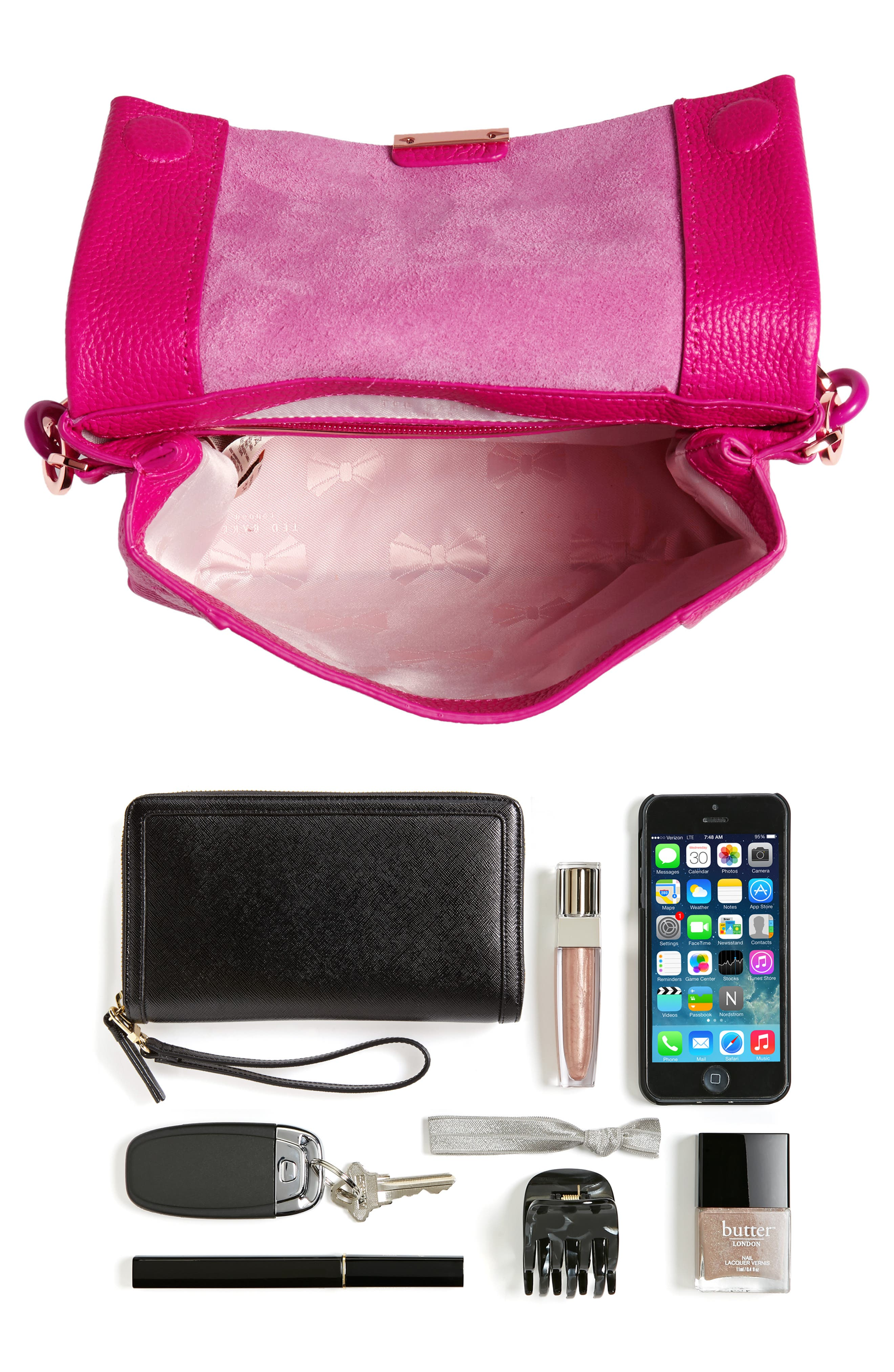 Ipomoea Leather Shoulder Bag,                             Alternate thumbnail 7, color,                             FUCHSIA