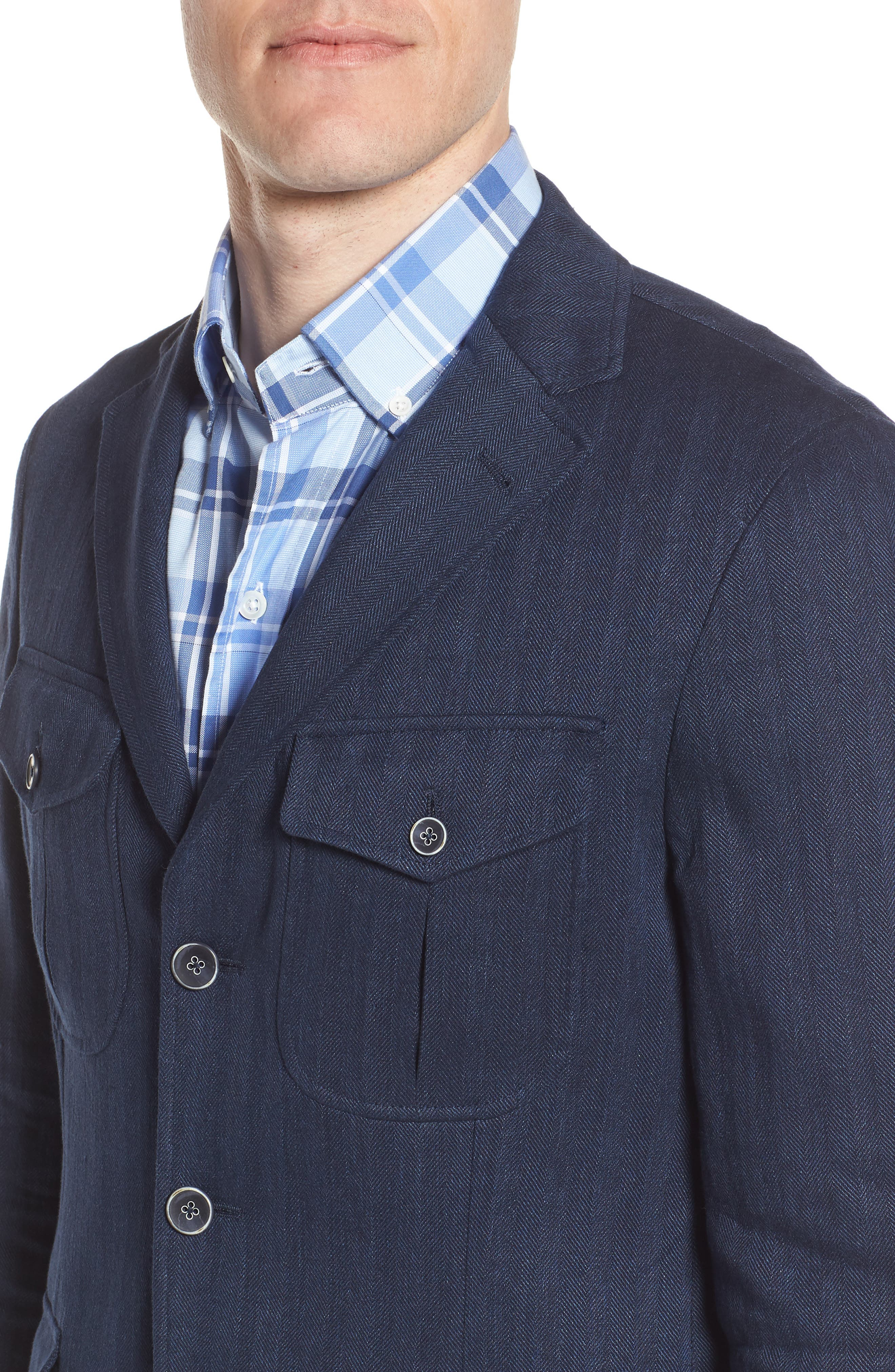Herringbone Safari Blazer,                             Alternate thumbnail 4, color,                             411