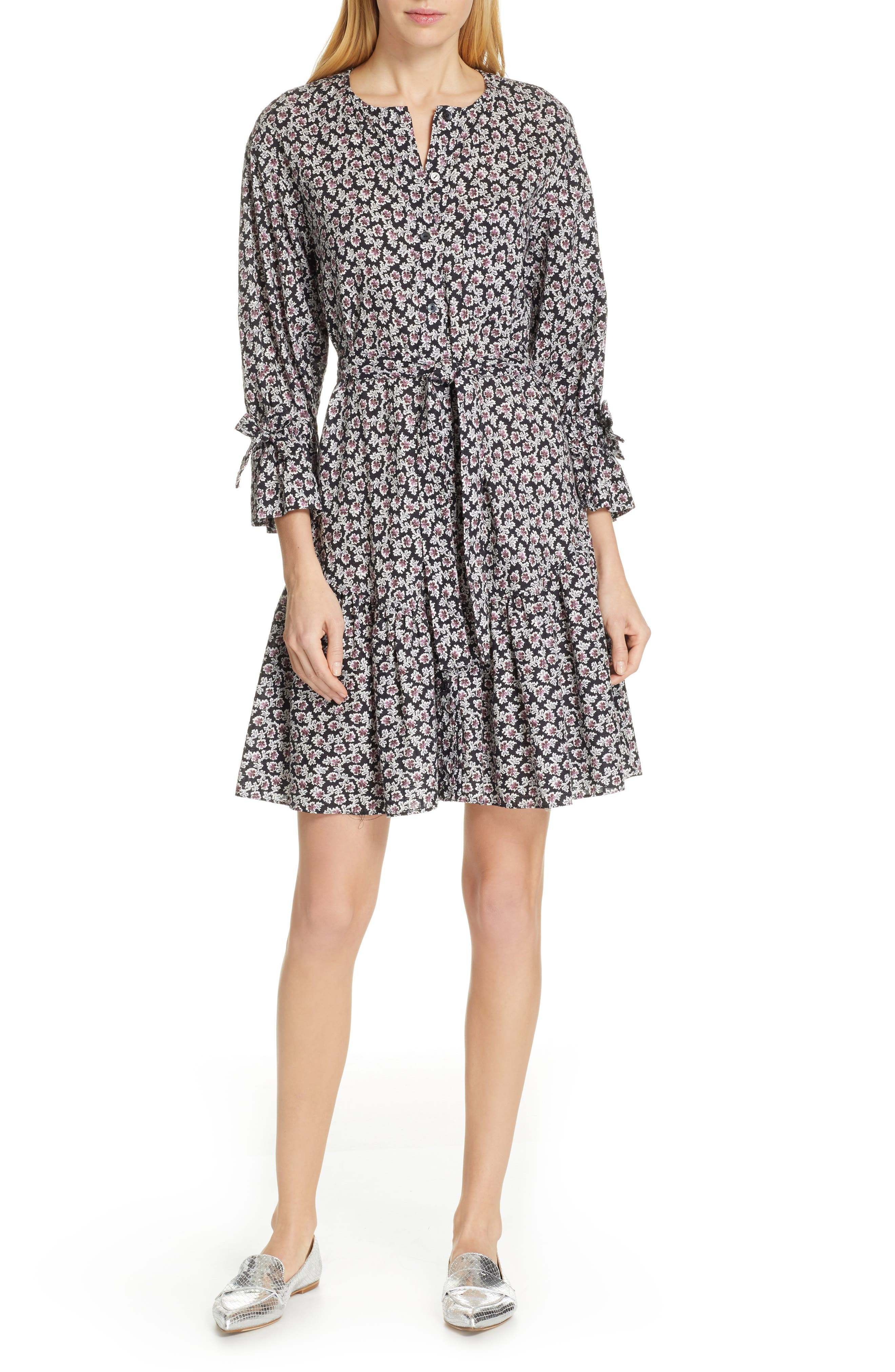 La Vie Rebecca Taylor Fabrice Floral Dress, Black